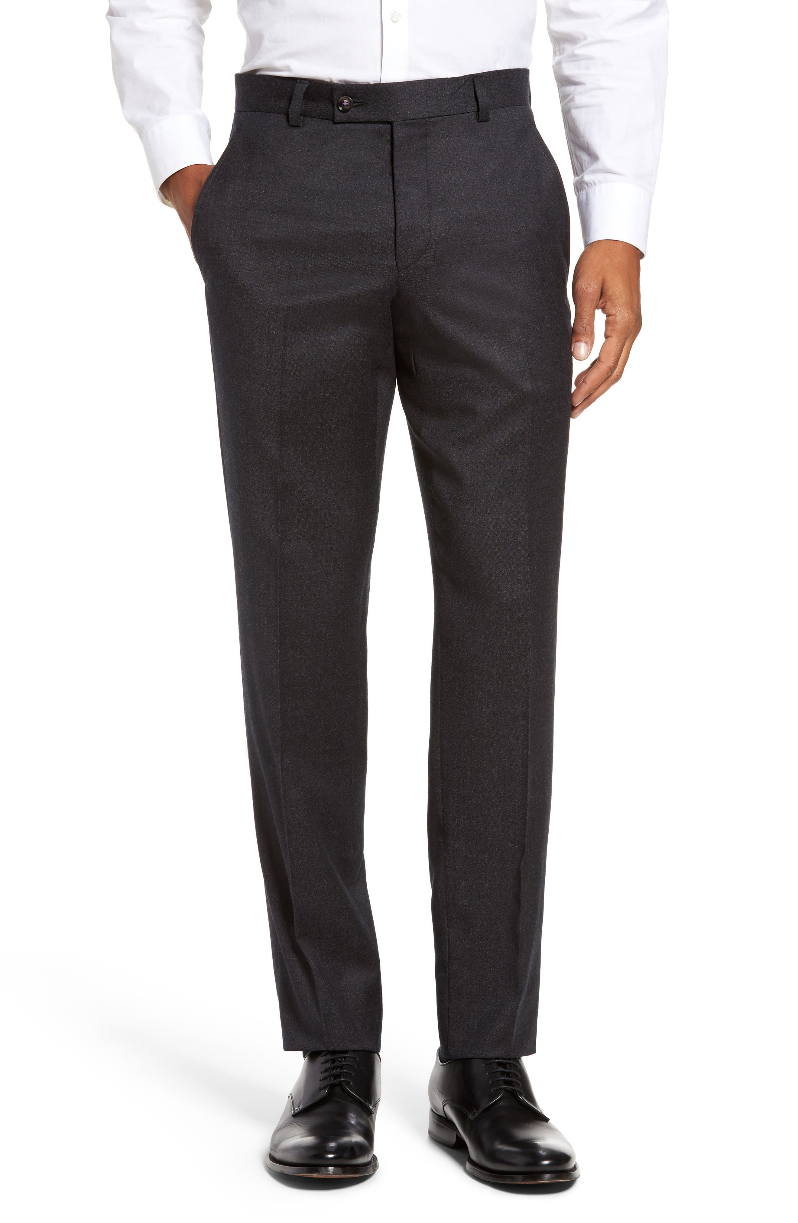 Jeremy Flat Front Solid Wool Trousers,                         Main,                         color, Light Grey