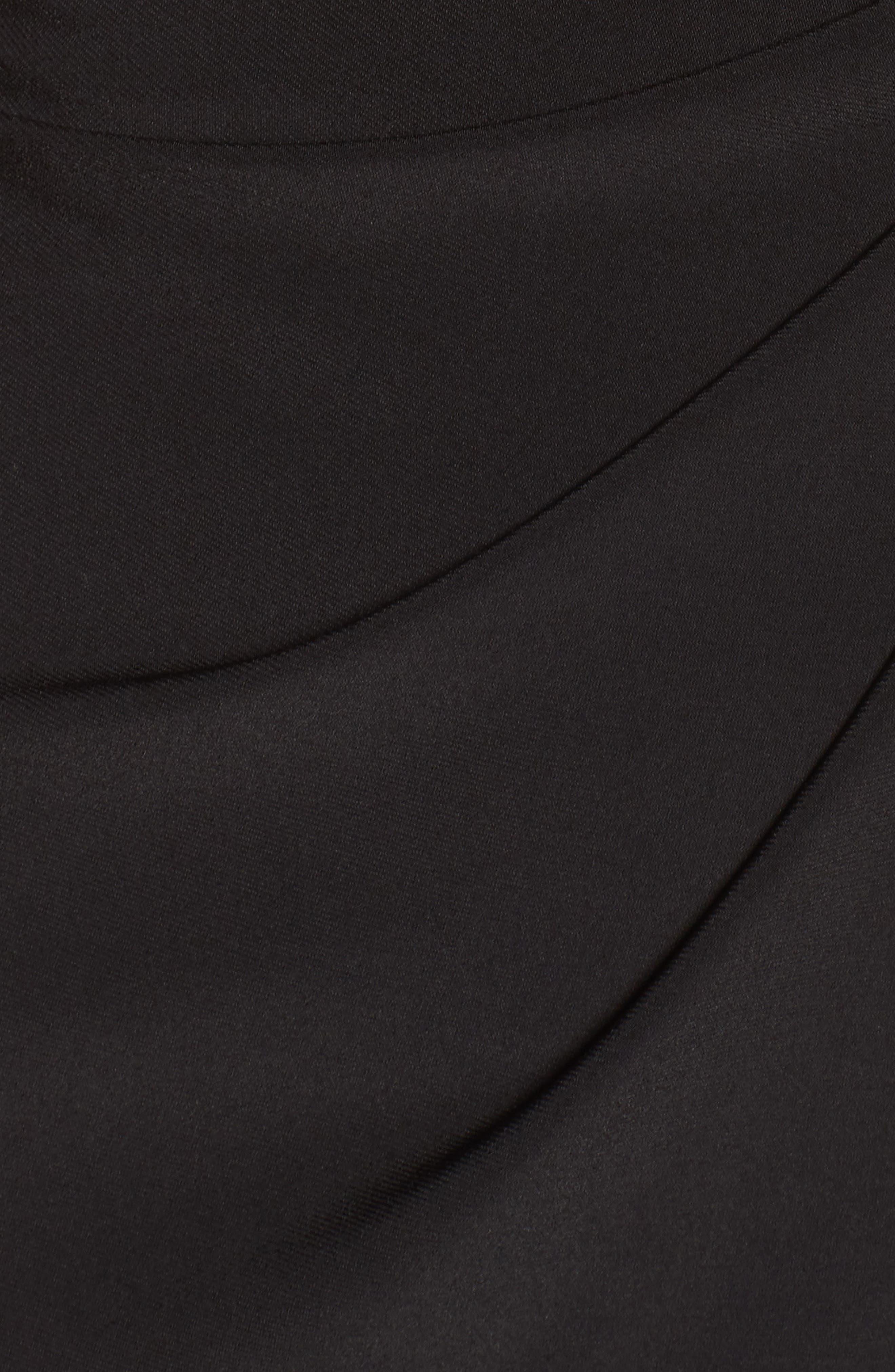Lace Shoulder Jersey Gown,                             Alternate thumbnail 5, color,                             Black