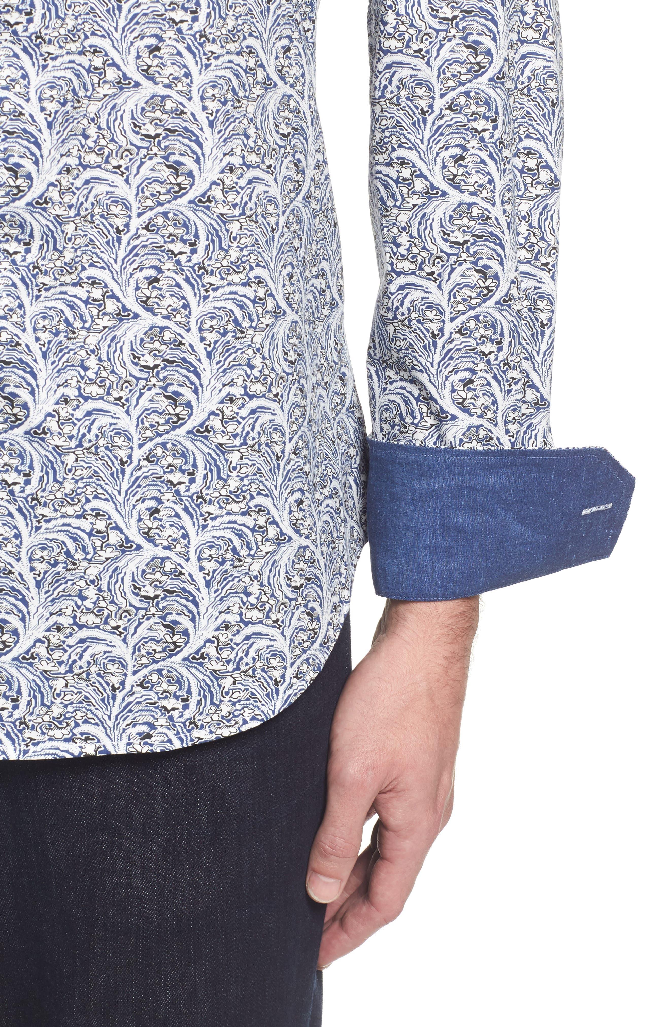 Slim Fit Print Sport Shirt,                             Alternate thumbnail 4, color,                             Navy