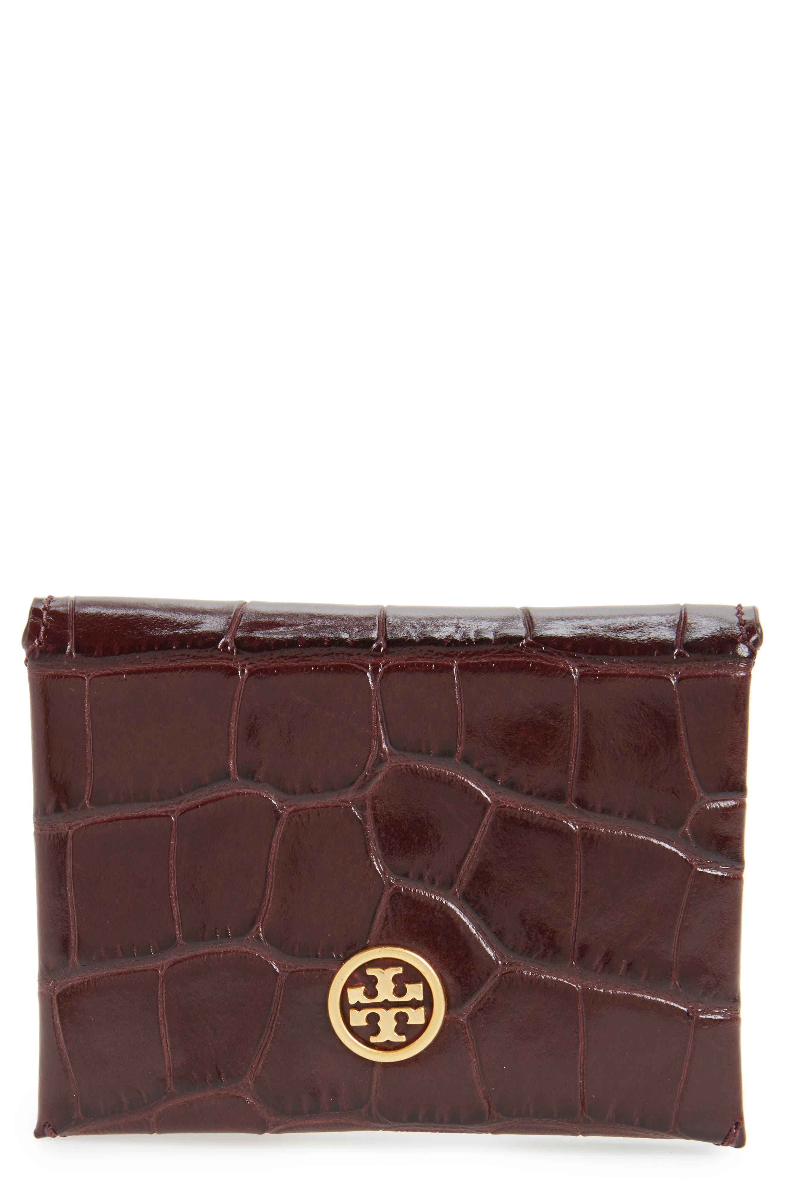 Tory Burch Parker Croc Embossed Leather Card Case