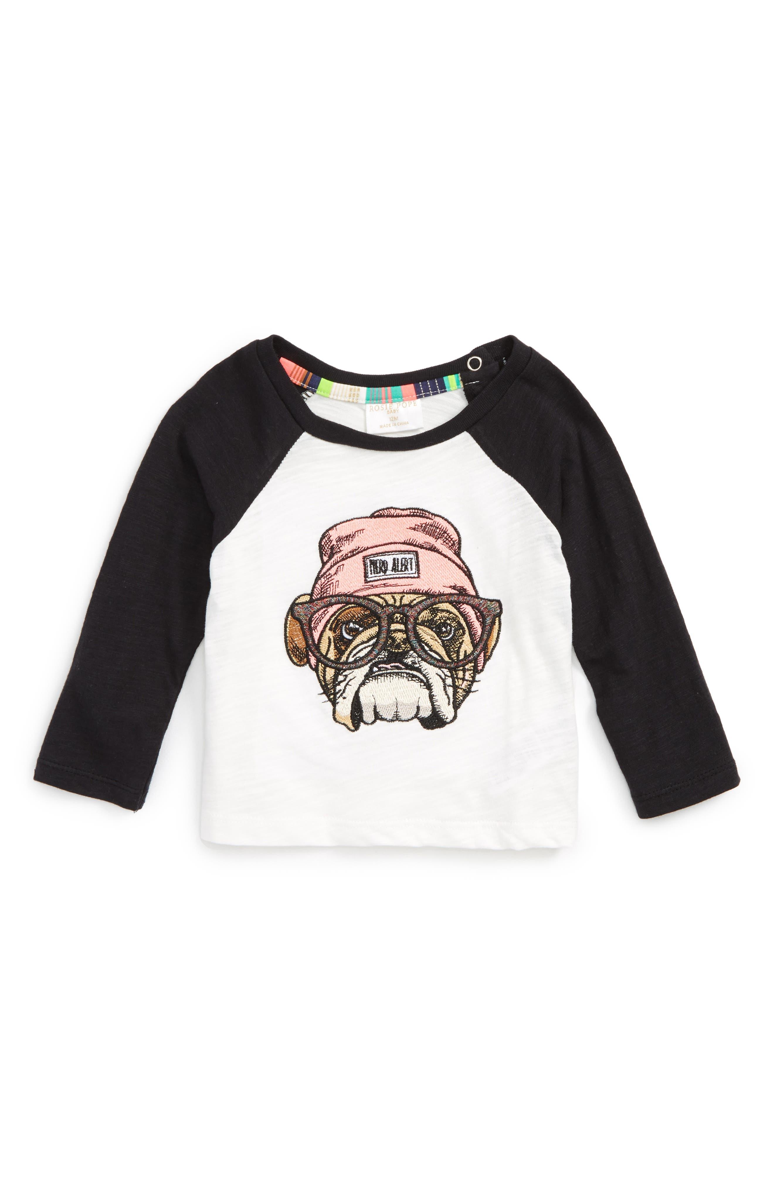 Main Image - Rosie Pope Embroidered Baseball Tee (Baby Girls)