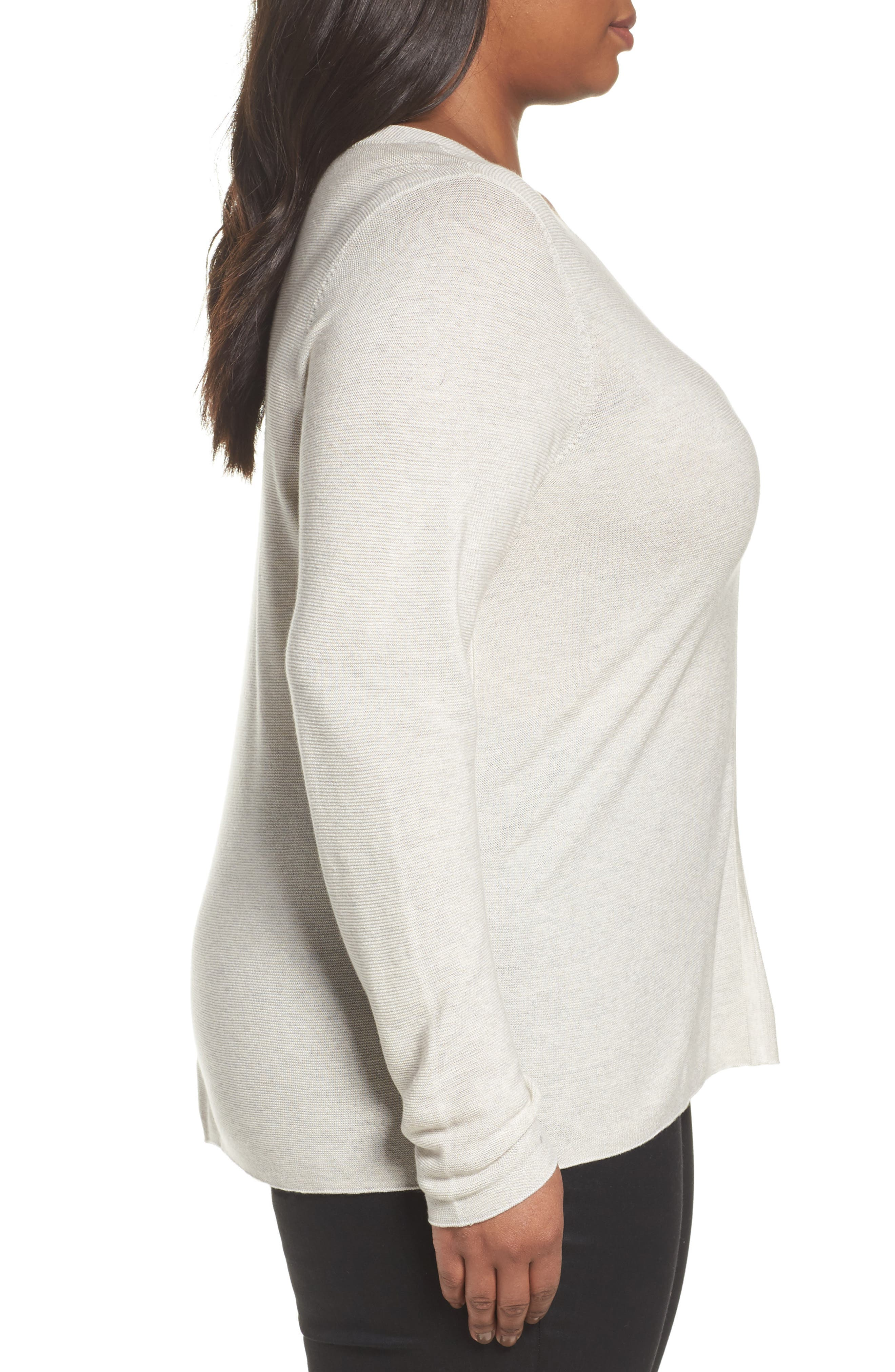 V-Neck Sweater,                             Alternate thumbnail 3, color,                             Pearl