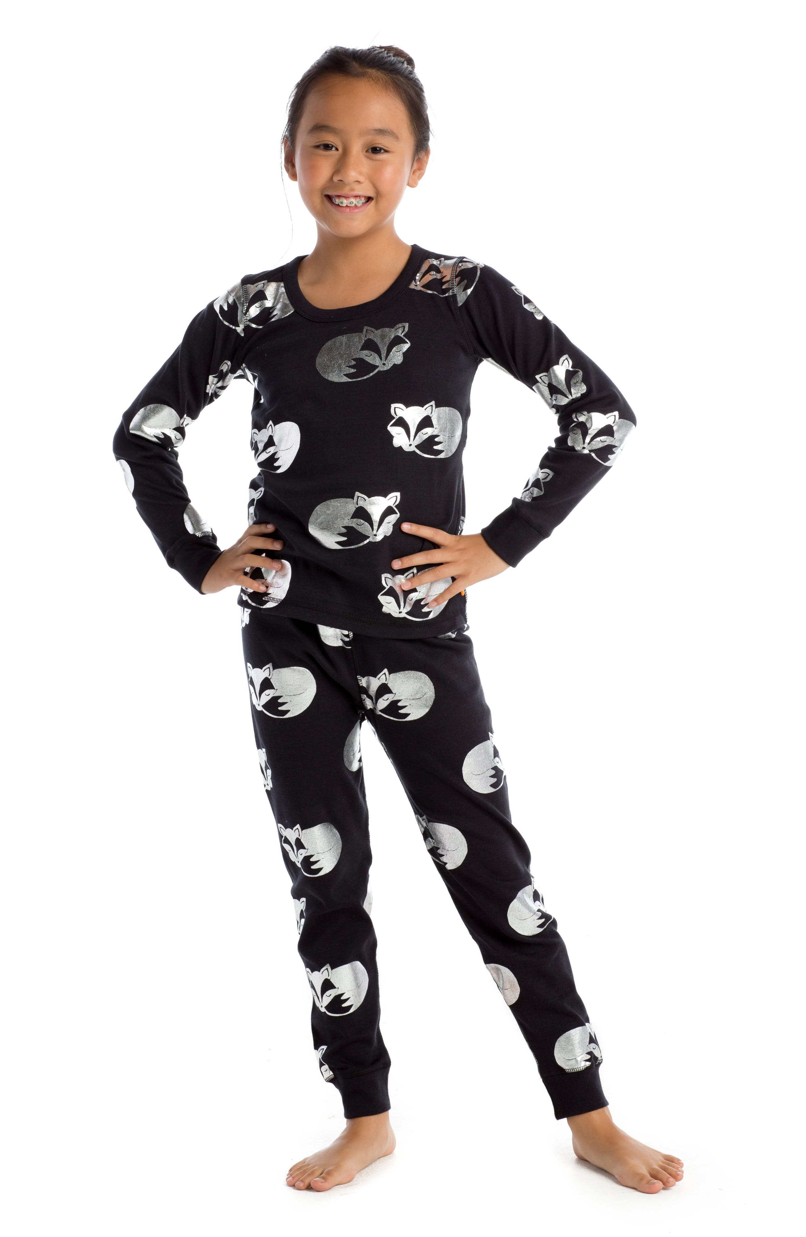 Alternate Image 1 Selected - Masasla Baby Sleeping Foxes Fitted Two-Piece Pajamas (Toddler Girls, Little Girls & Big Girls)