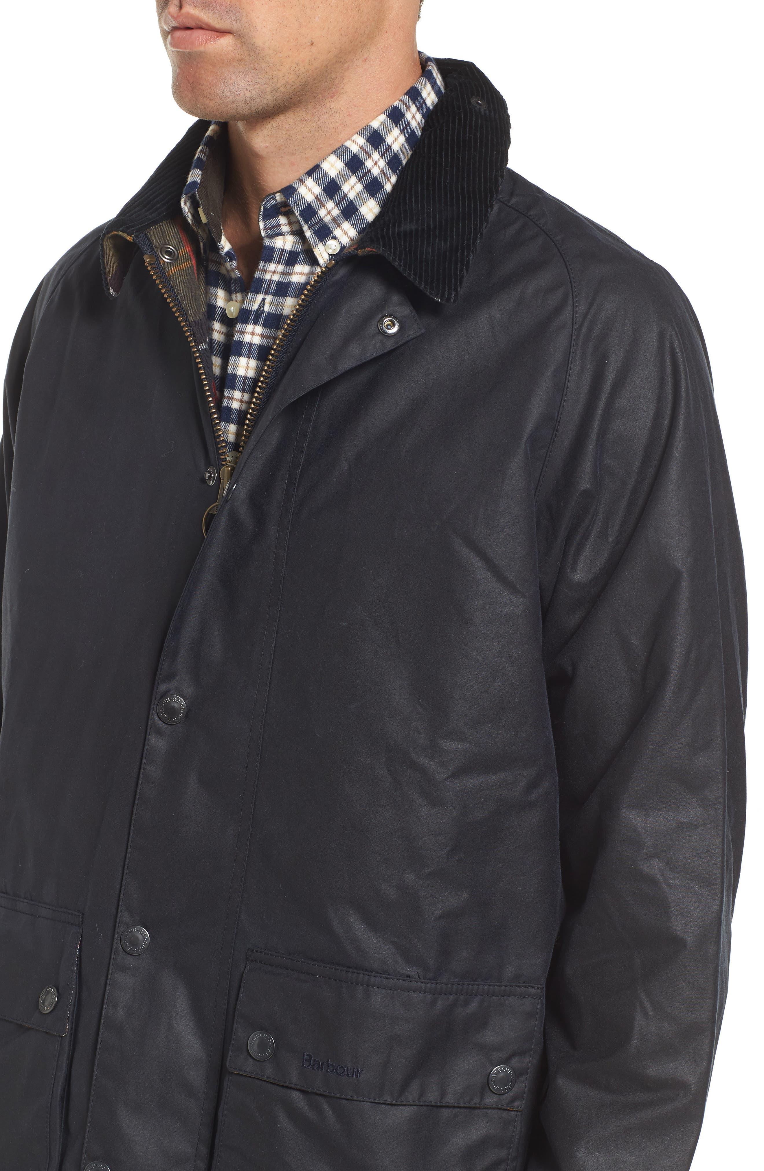 Leighton Waxed Cotton Jacket,                             Alternate thumbnail 4, color,                             Navy