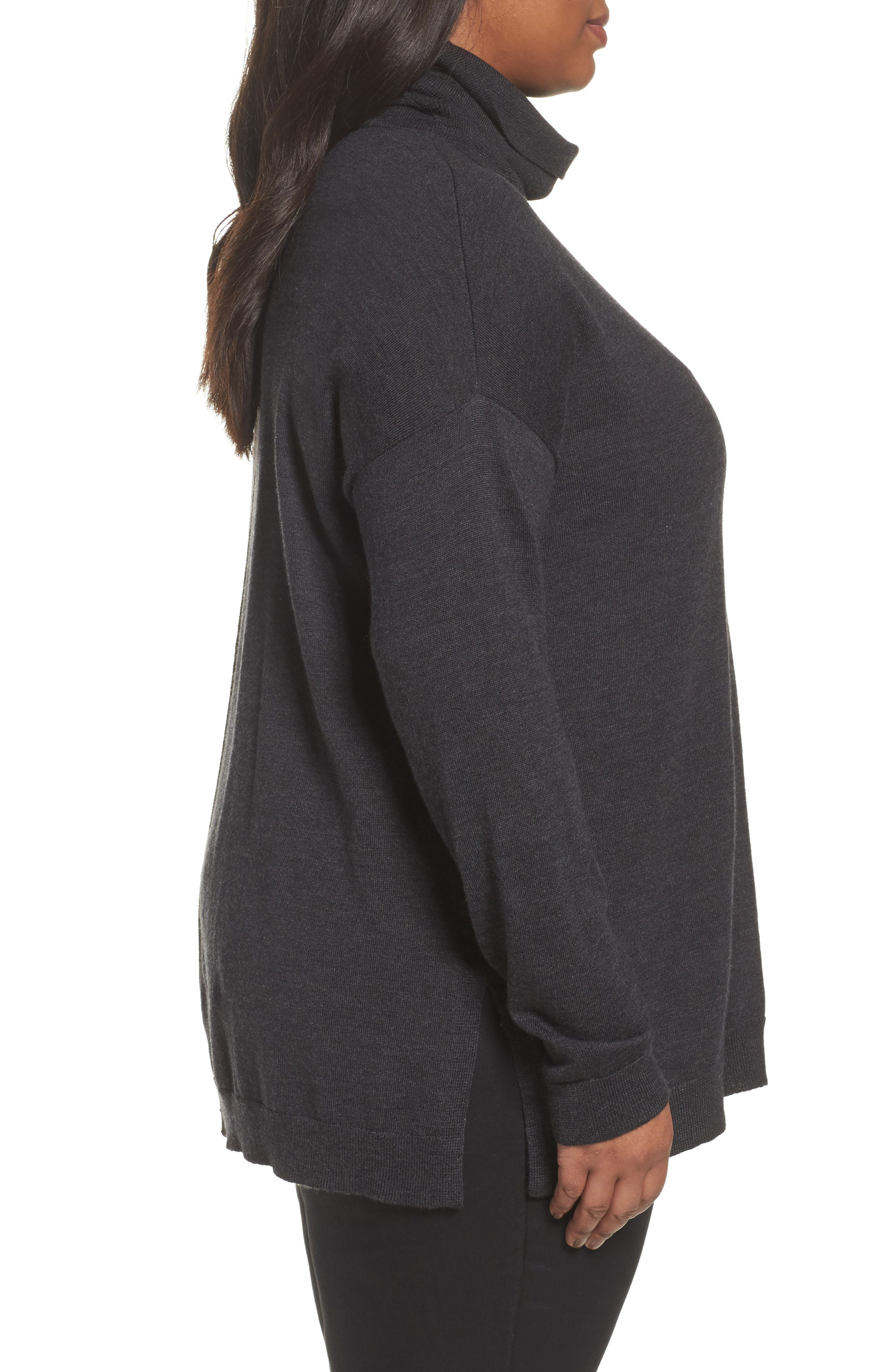 Alternate Image 3  - Eileen Fisher Merino Wool Turtleneck Sweater (Plus Size)