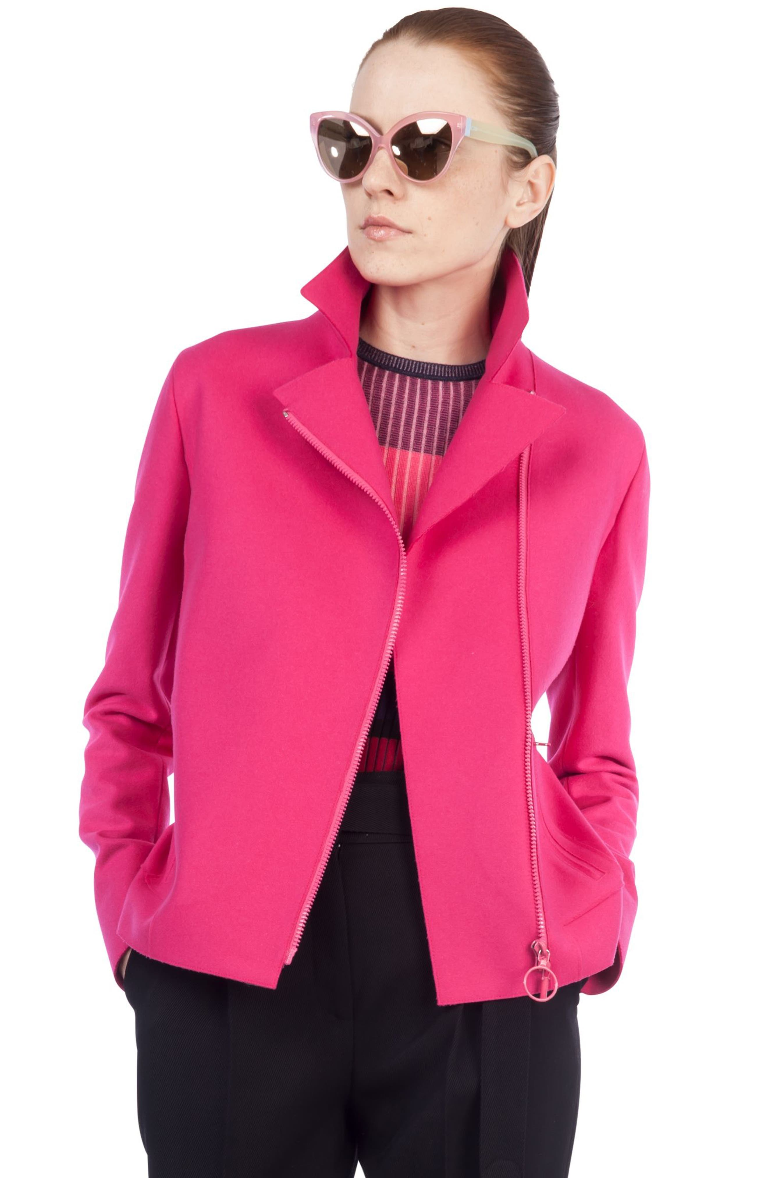 Taglio Vivo Biker Jacket,                             Alternate thumbnail 4, color,                             Sunset