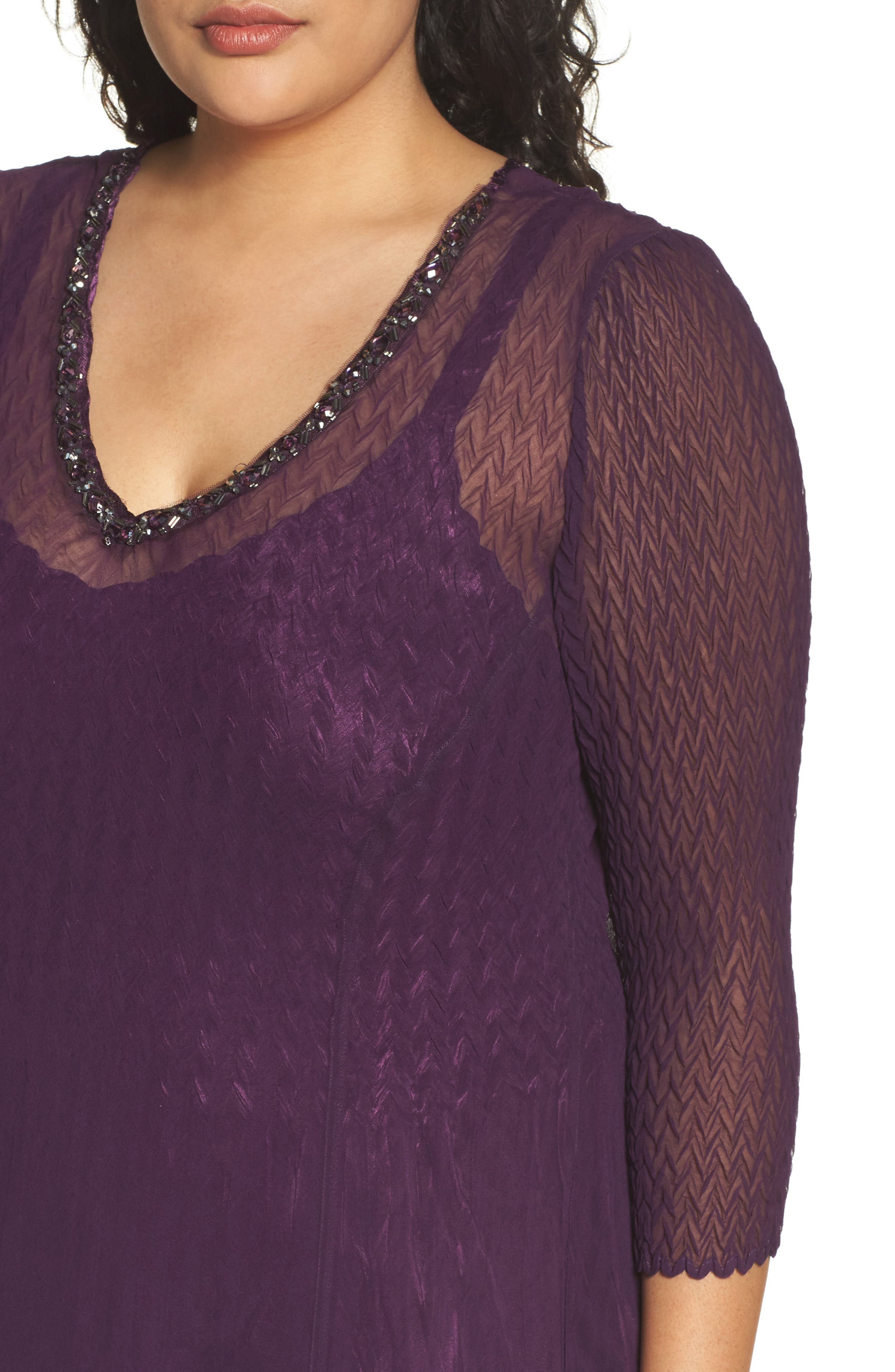 Chiffon Layer Charmeuse Dress,                             Alternate thumbnail 4, color,                             Aubergine