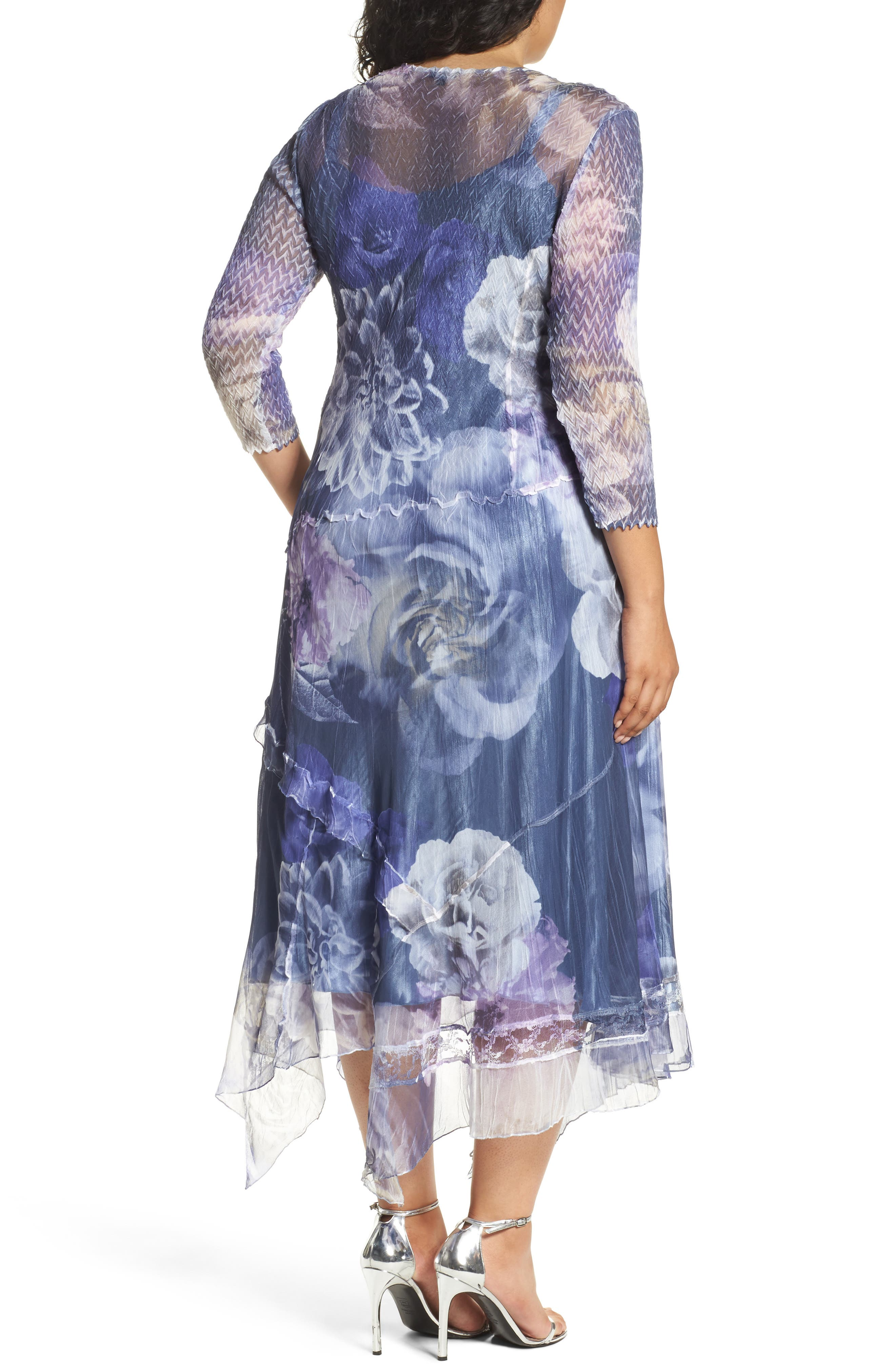 Chiffon Handkerchief Hem Dress,                             Alternate thumbnail 2, color,                             Indigo Shadow