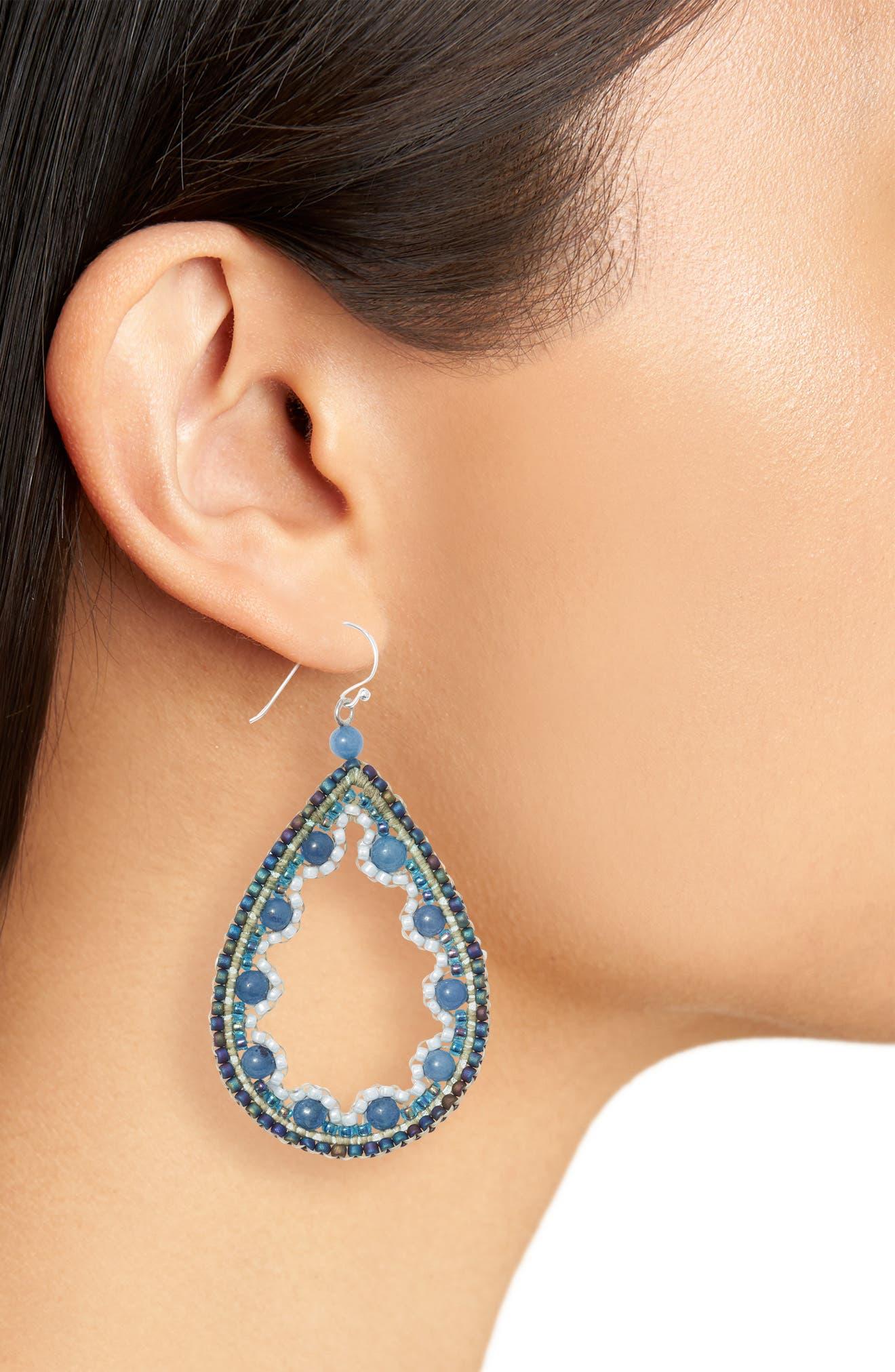 Beaded Agate Teardrop Earrings,                             Alternate thumbnail 2, color,                             Blue
