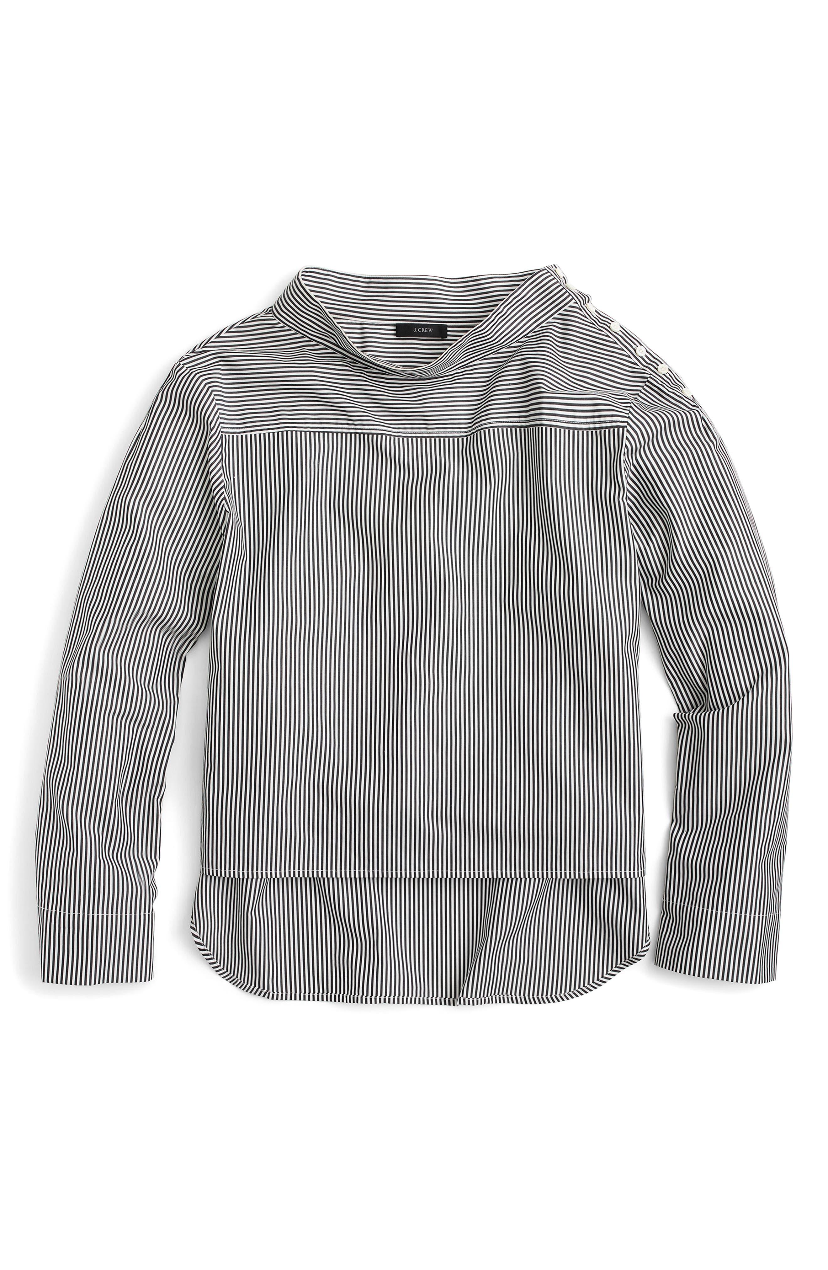 Main Image - J.Crew Funnel Neck Stripe Shirt (Regular & Petite)