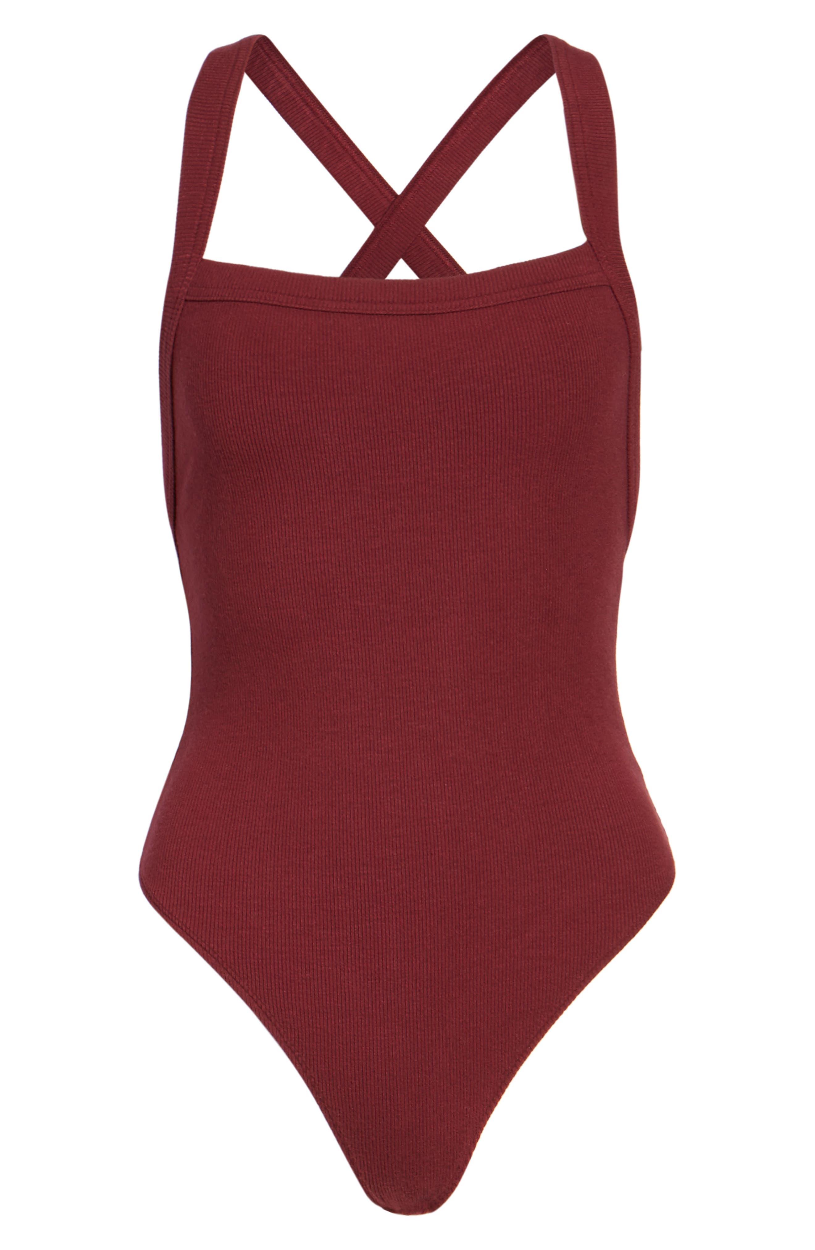 Thong Bodysuit,                             Alternate thumbnail 6, color,                             Burgundy