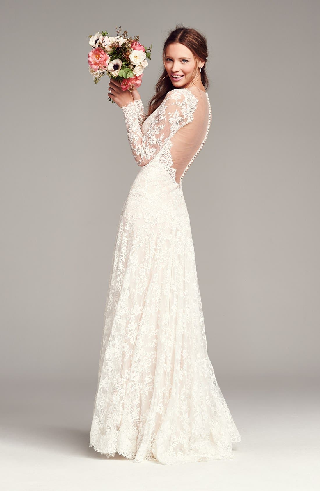 Alternate Image 4  - Watters Arcelia Illusion Yoke A-Line Lace Gown