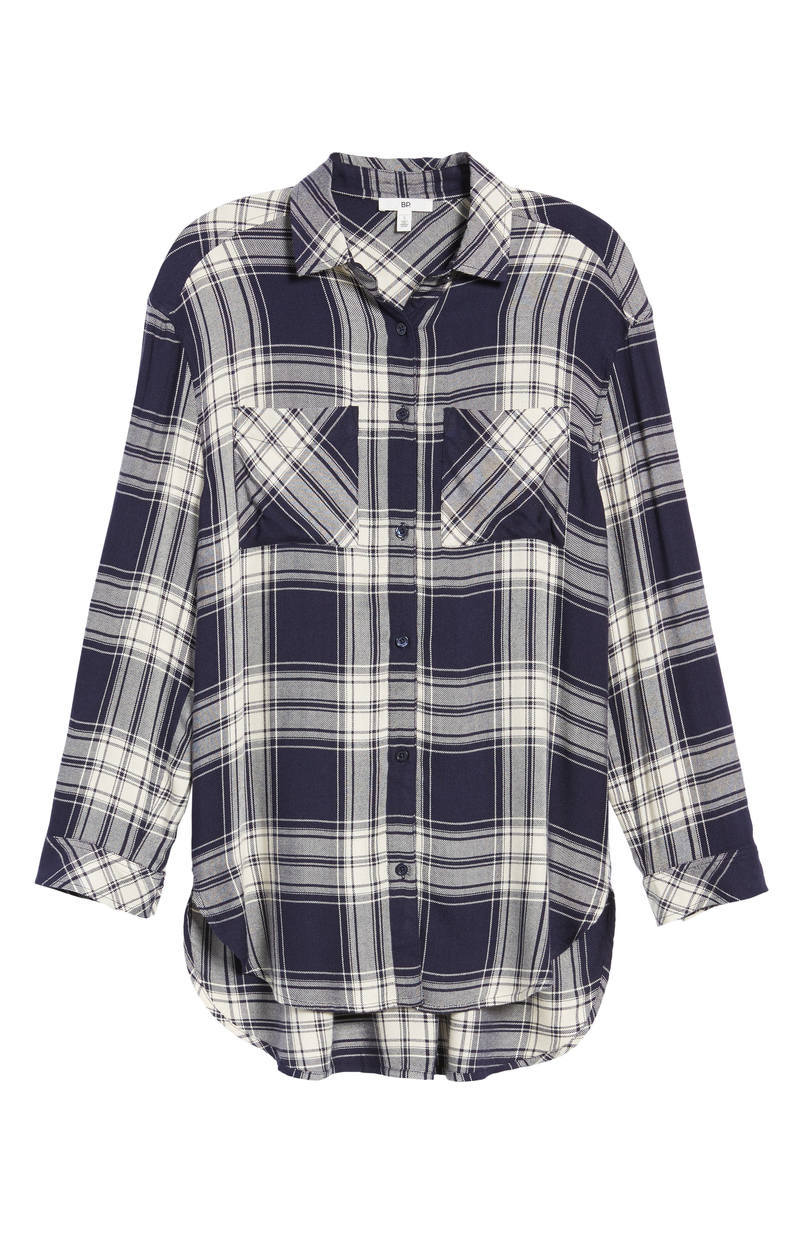 Oversize Flannel Shirt,                             Alternate thumbnail 6, color,                             Navy Peacoat Rose Plaid