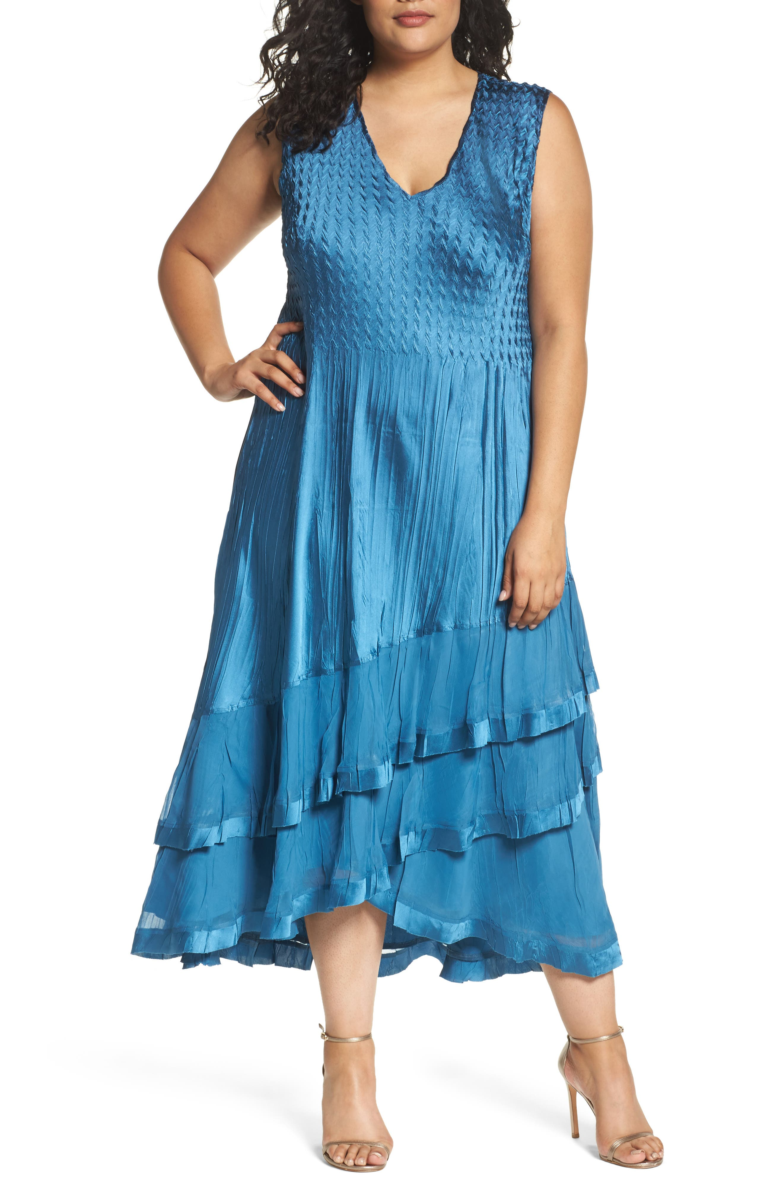 Tiered Dress with Jacket,                             Alternate thumbnail 2, color,                             Blue Dusk