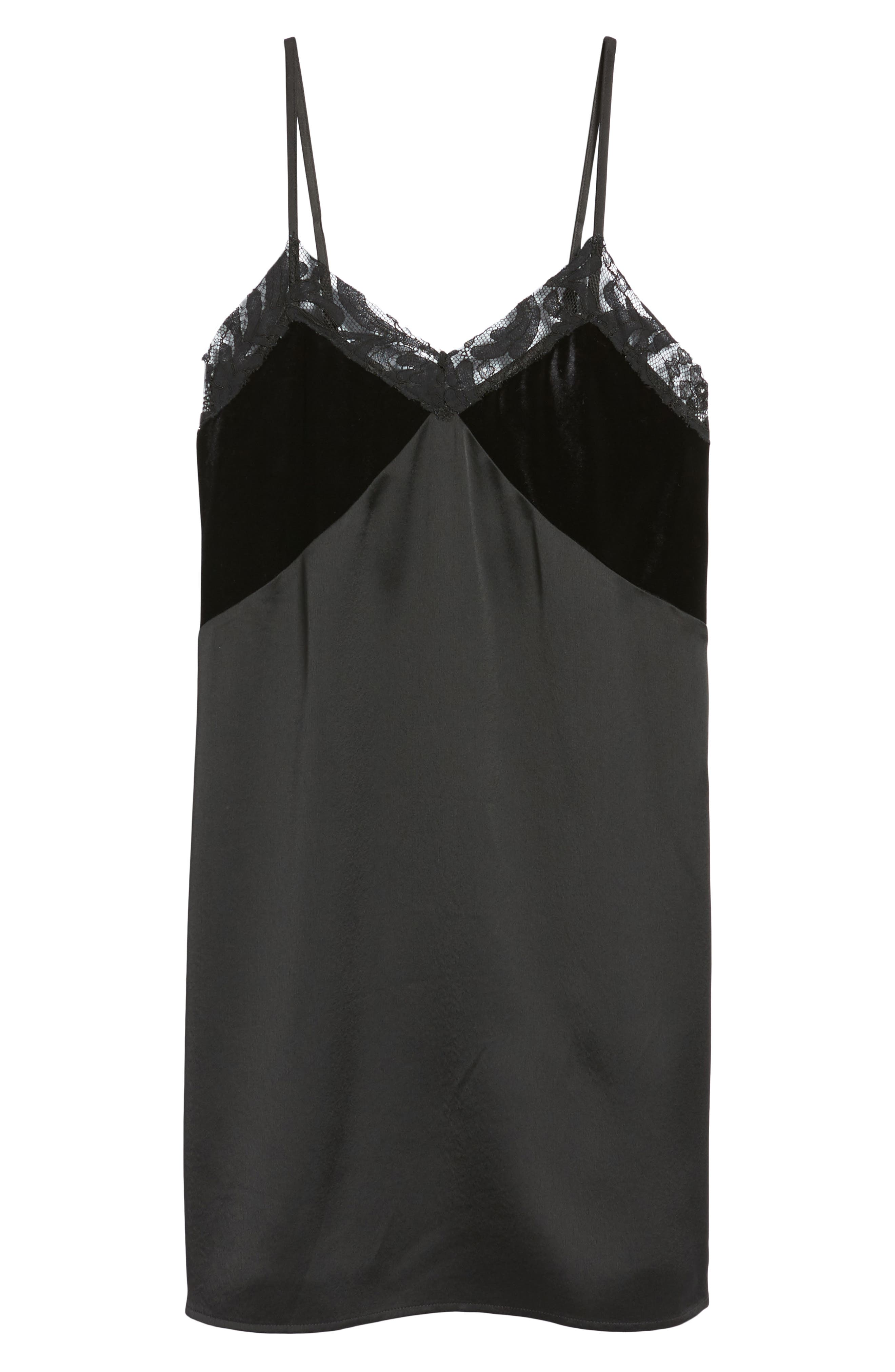 Velvet & Lace Trim Slipdress,                             Alternate thumbnail 6, color,                             Black