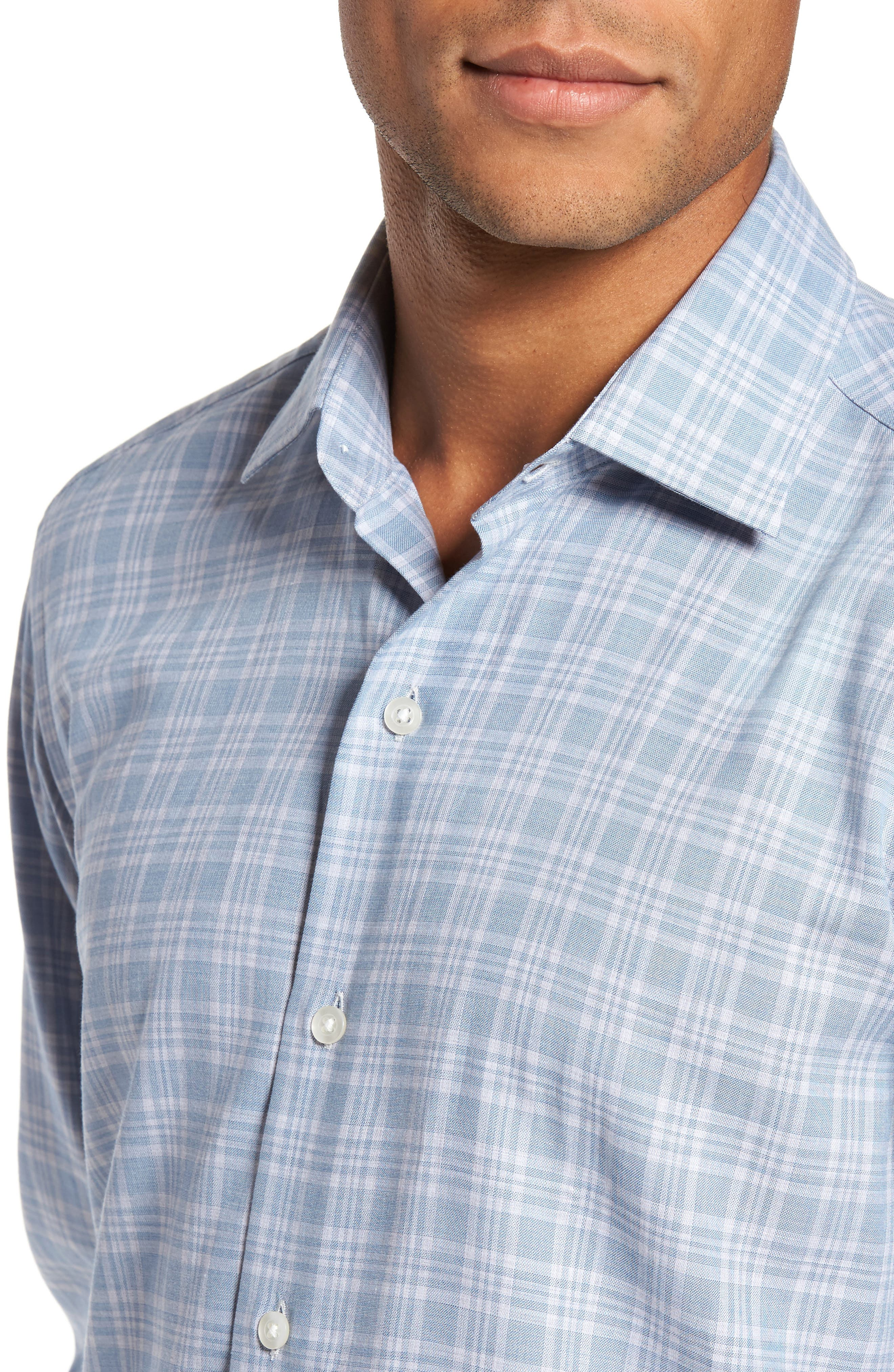 Trim Fit Check Sport Shirt,                             Alternate thumbnail 4, color,                             Blue