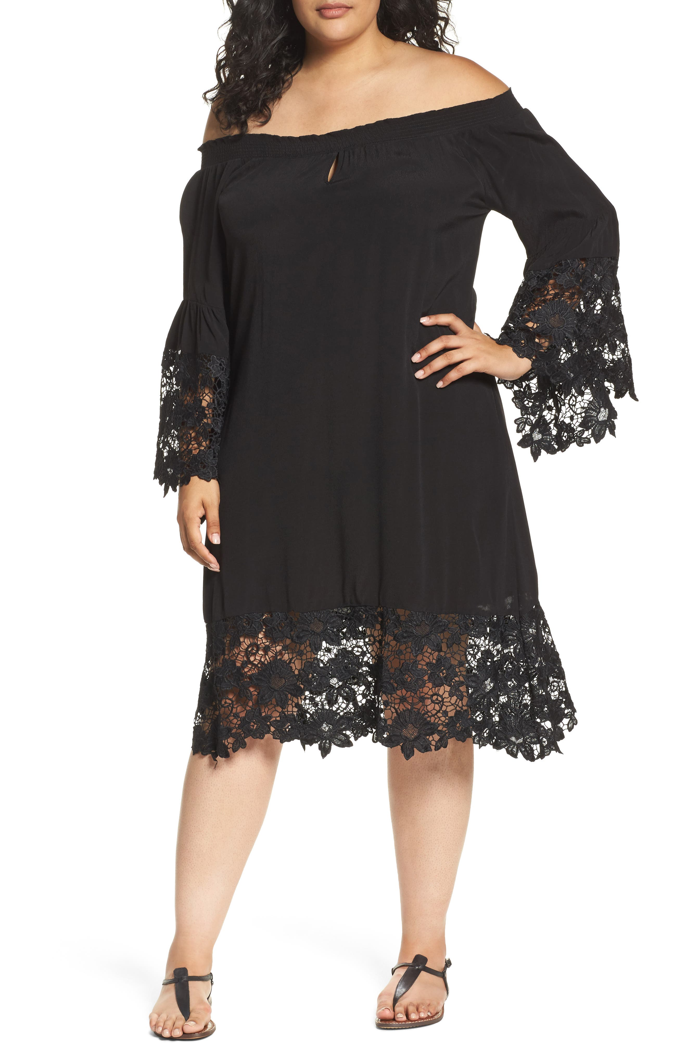 Jolie Lace Accent Cover-Up Dress,                         Main,                         color, Black