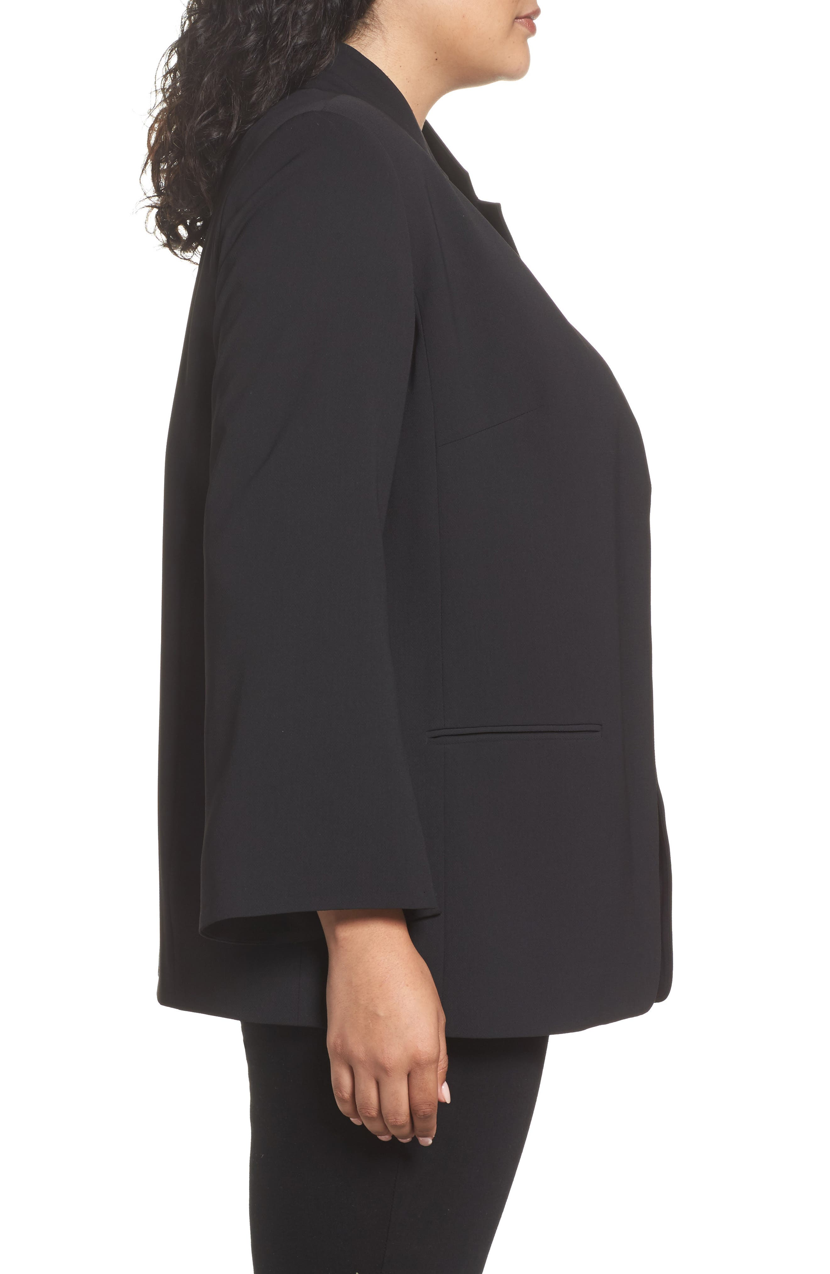 Split Bell Sleeve Blazer,                             Alternate thumbnail 3, color,                             Rich Black