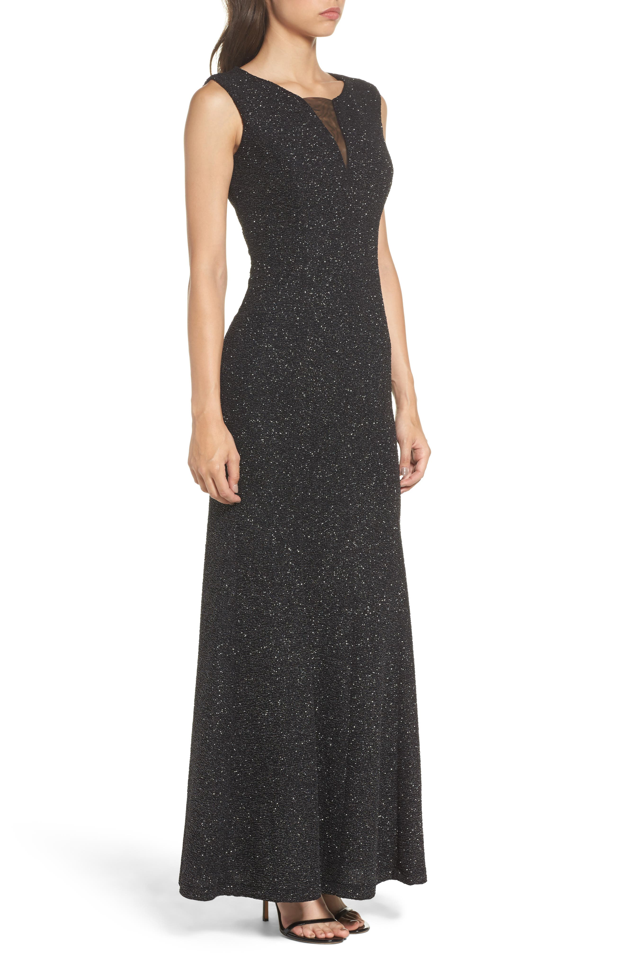 Glitter Knit Gown,                             Alternate thumbnail 3, color,                             Black/ Silver