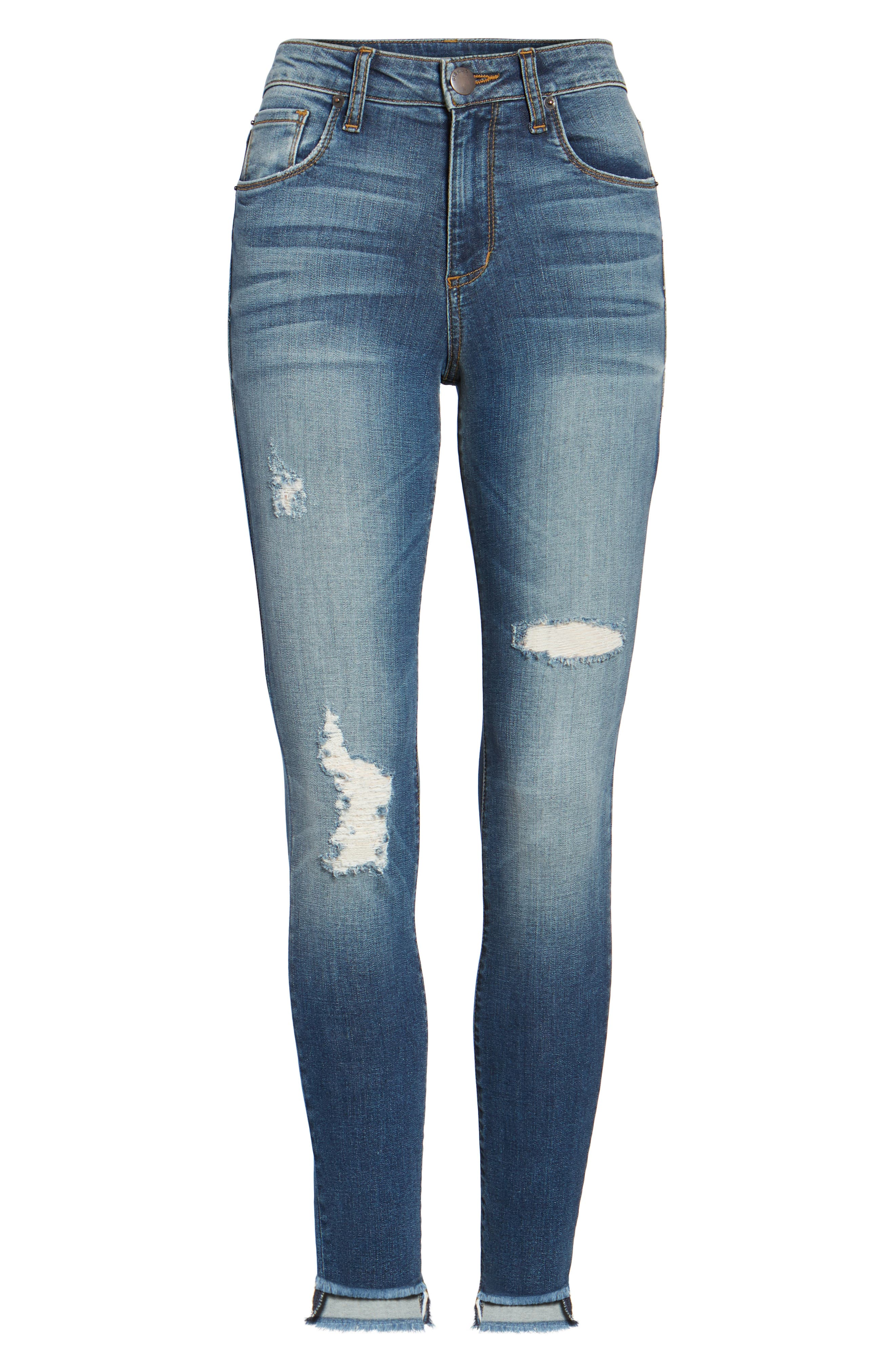 Alternate Image 6  - STS Blue Ellie Step Hem Ripped High Waist Skinny Jeans