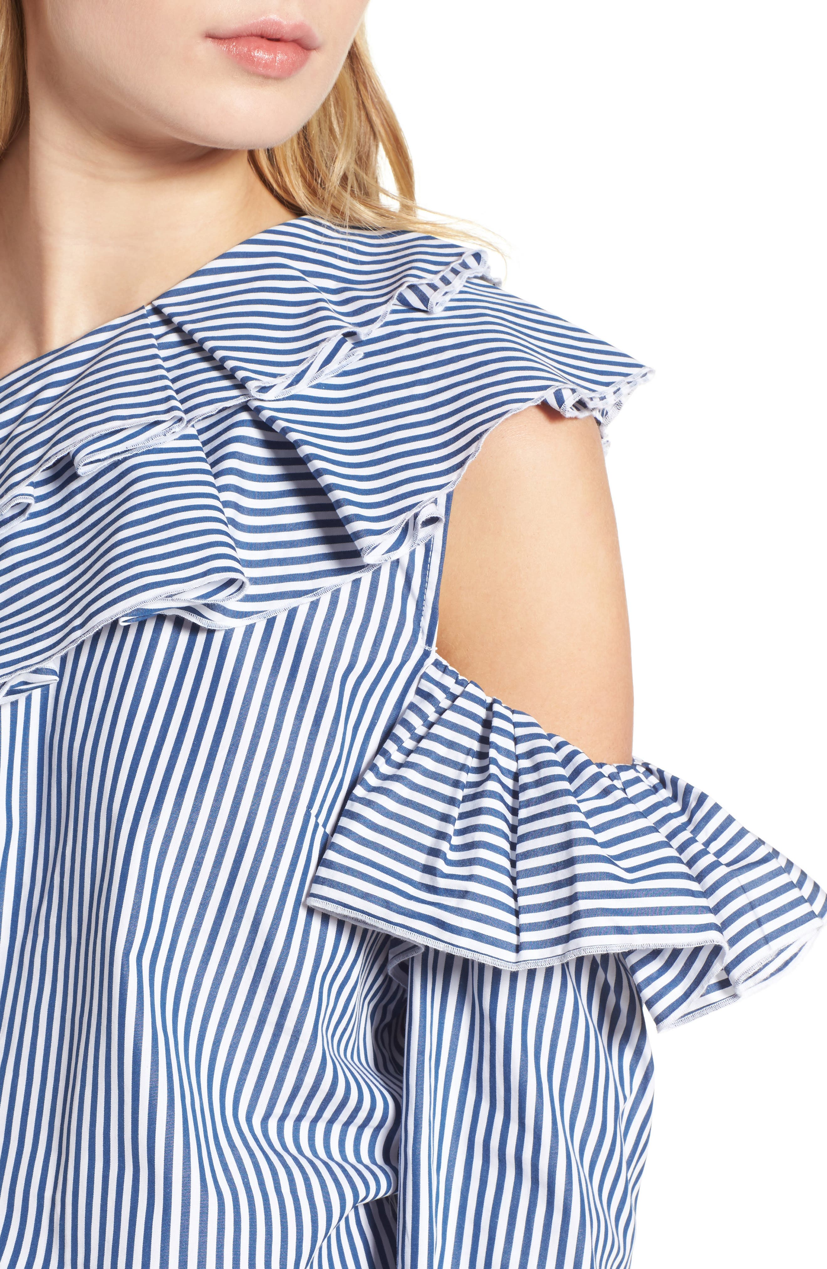 Ruffle One-Shoulder Blouse,                             Alternate thumbnail 4, color,                             Navy M Betty St