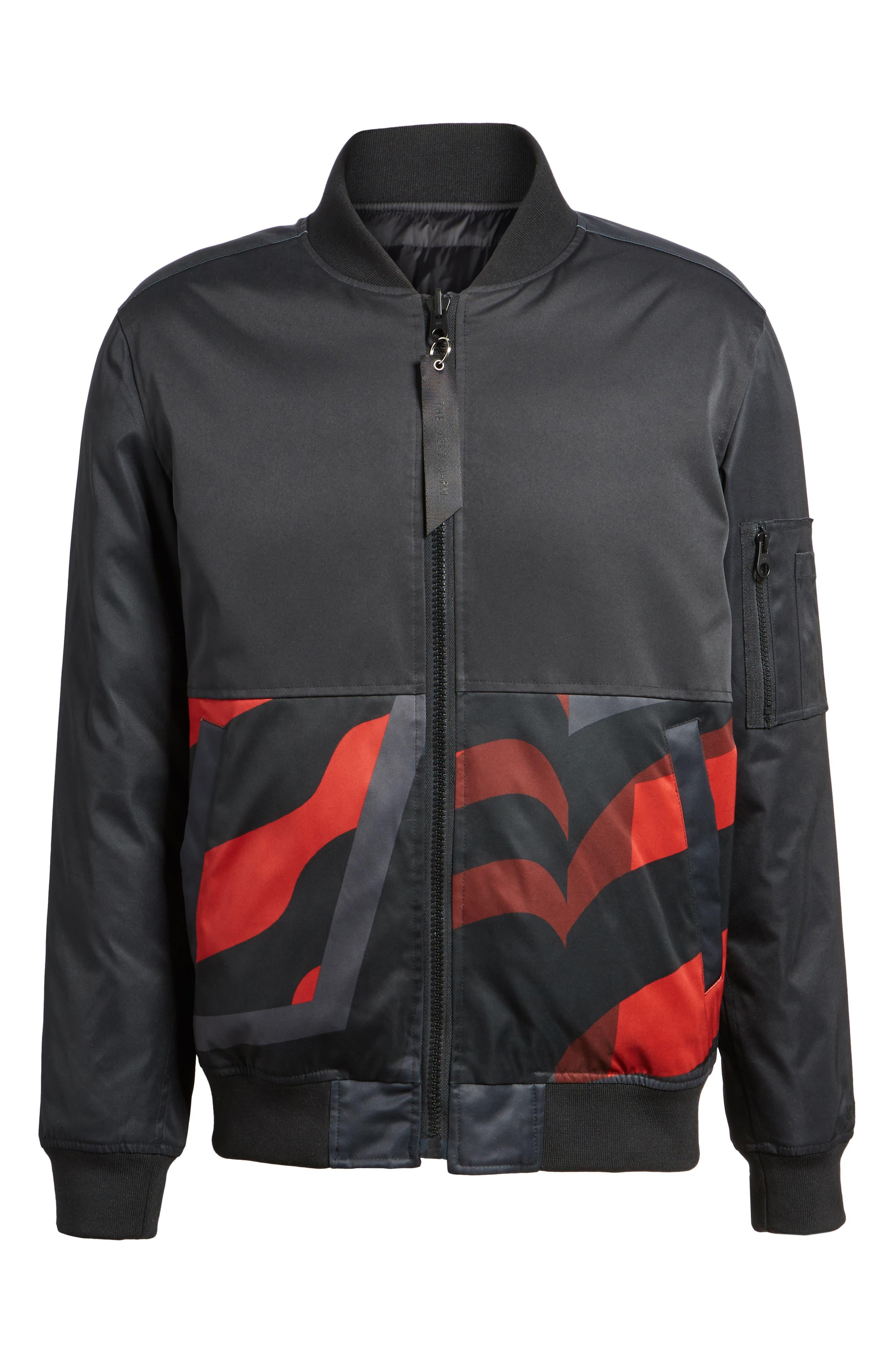 Reversible Down Bomber Jacket,                             Alternate thumbnail 6, color,                             Black
