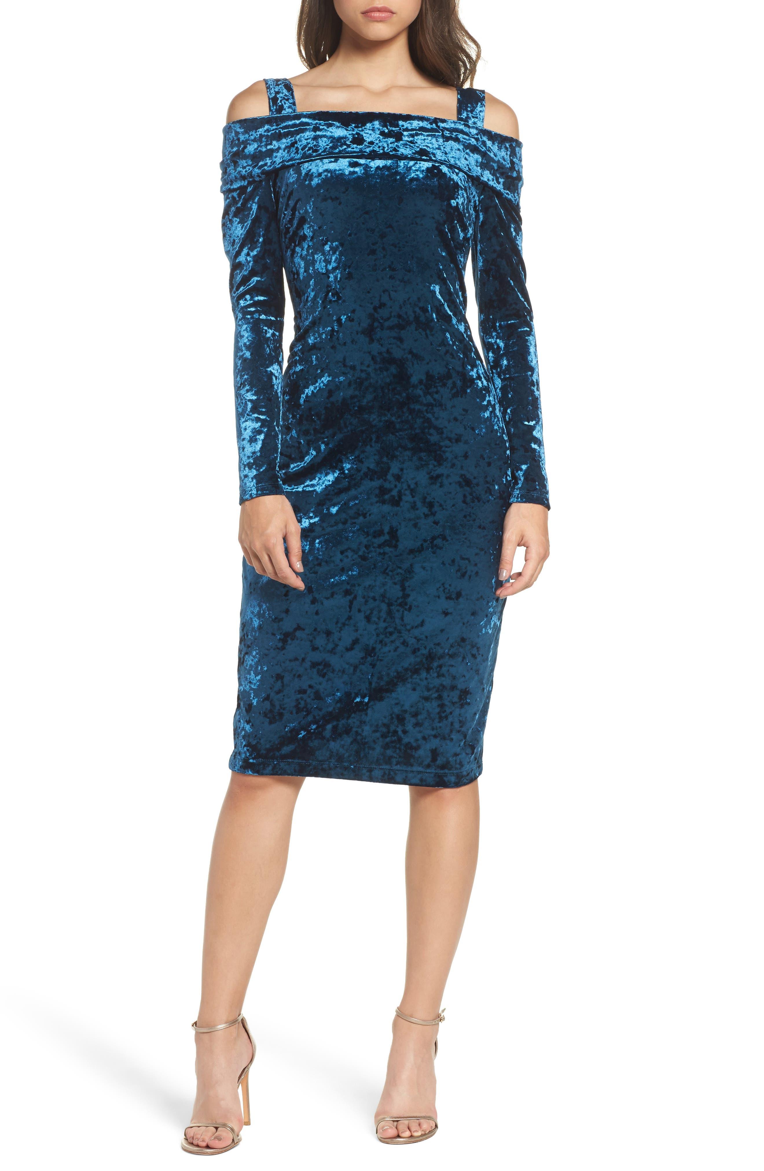 Crushed Velvet Off the Shoulder Dress,                         Main,                         color, Harbour Blue
