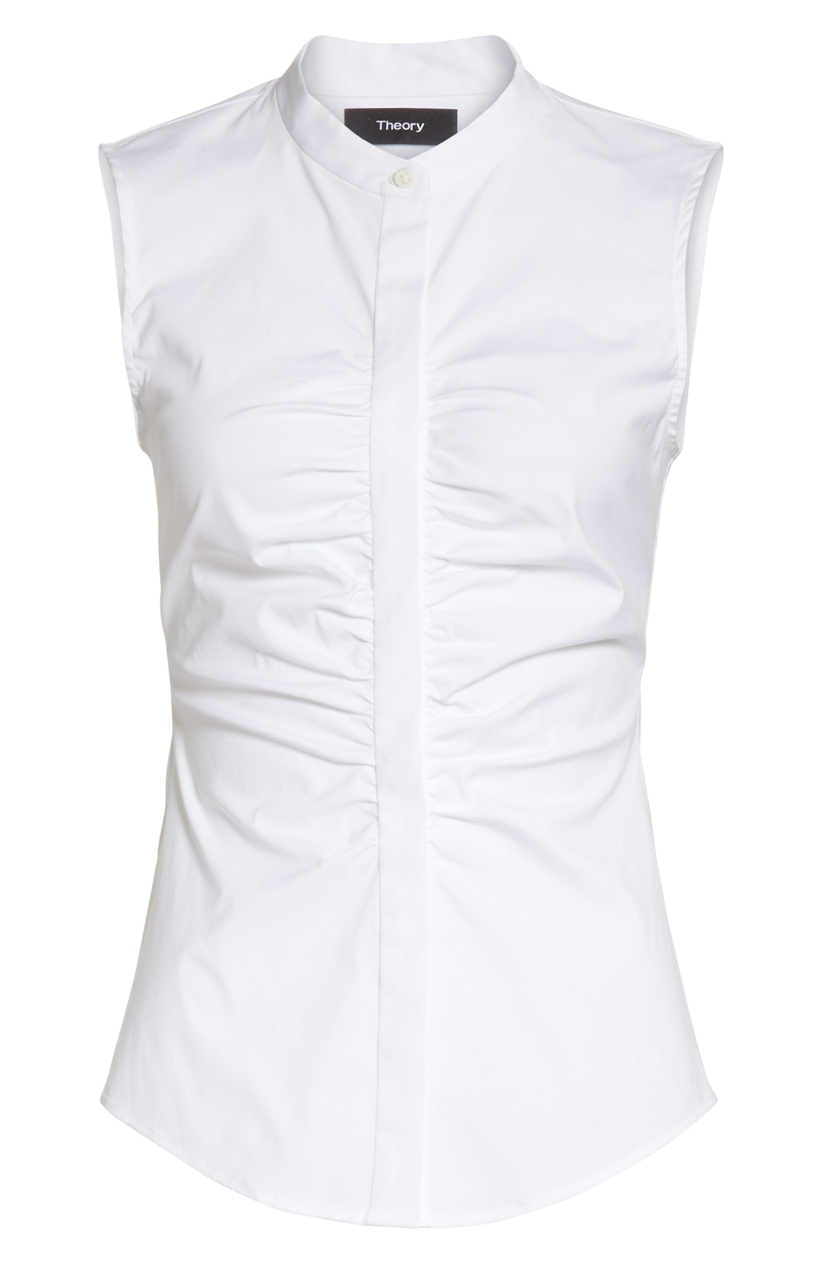 Ruched Fitted Stretch Cotton Blouse,                             Alternate thumbnail 6, color,                             White