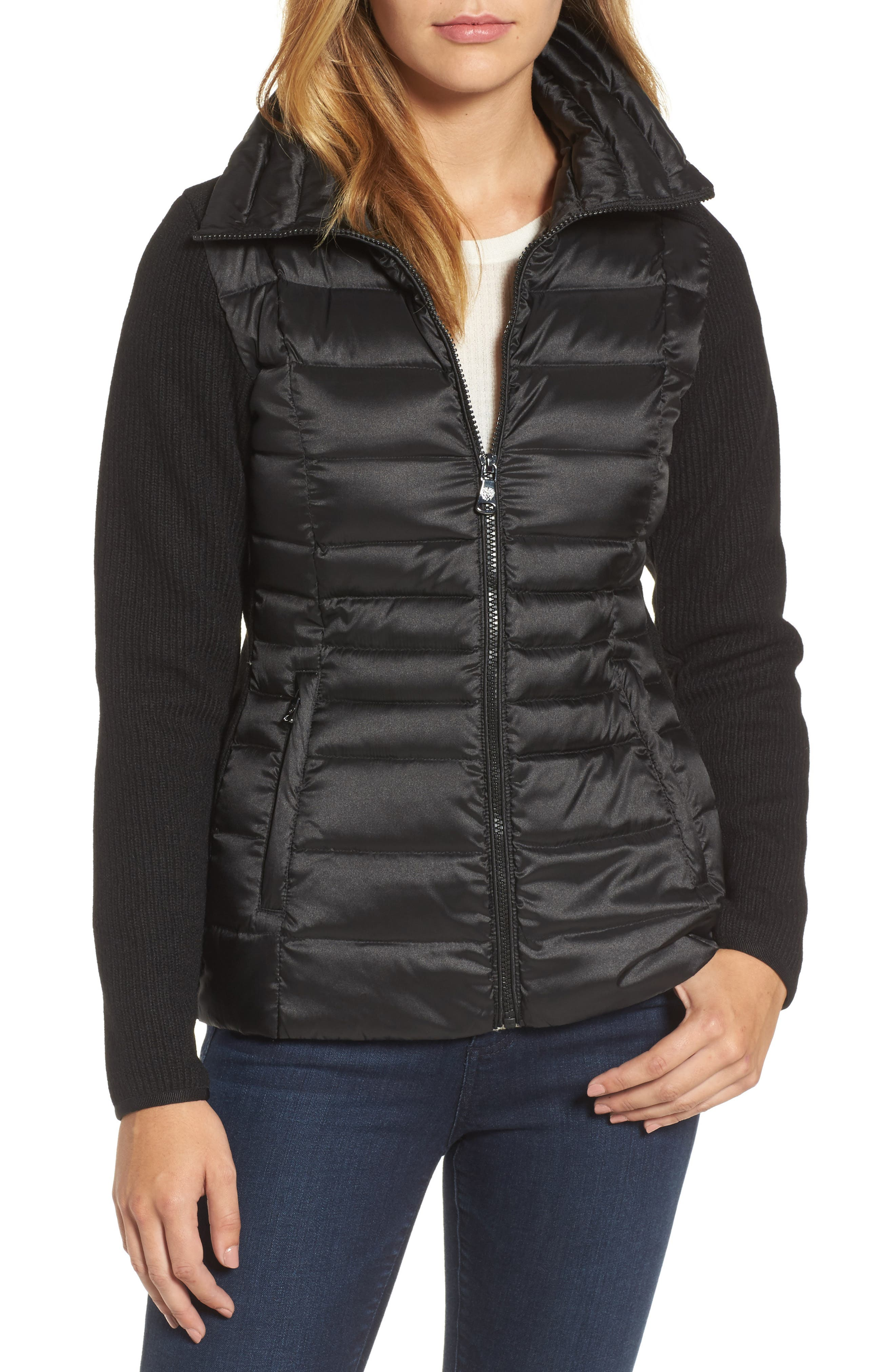 Alternate Image 1 Selected - Vince Camuto Mixed Media Down Jacket
