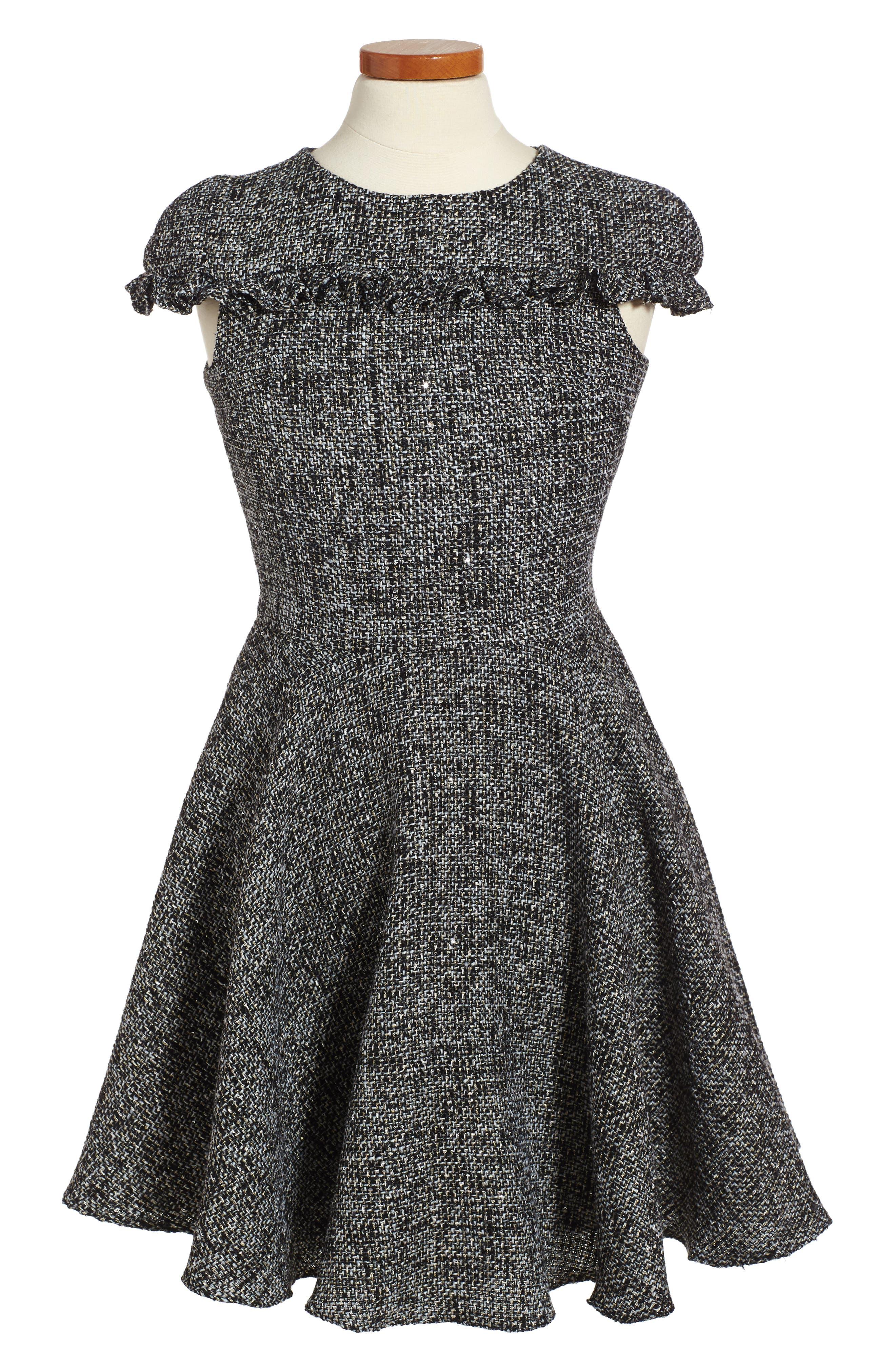 Main Image - David Charles Sequin Tweed Dress (Big Girls)