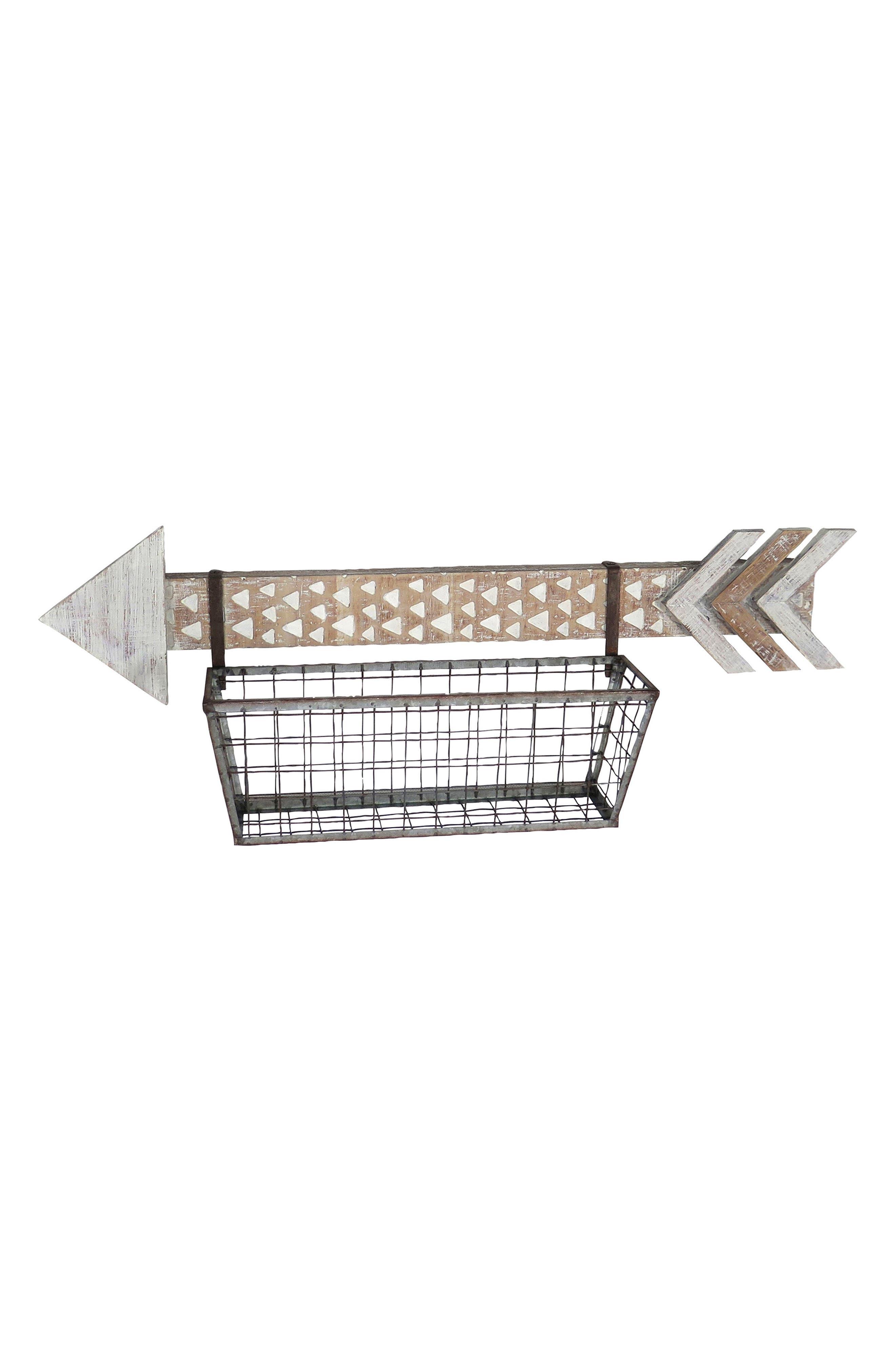 Arrow Wall Basket,                         Main,                         color, Wood/ Metal