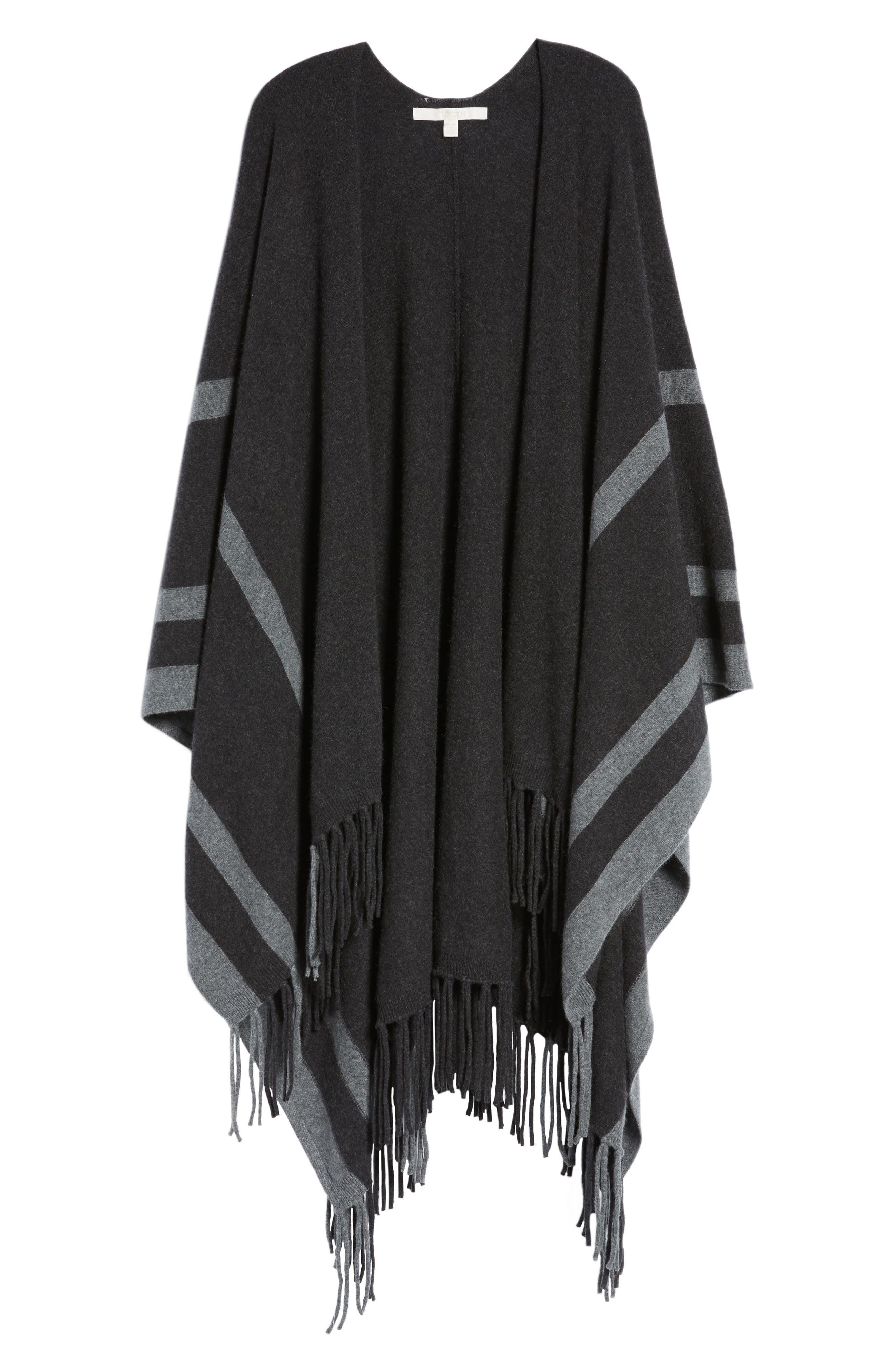 Alternate Image 6  - Nordstrom Collection Luxe Stripe Cashmere Ruana