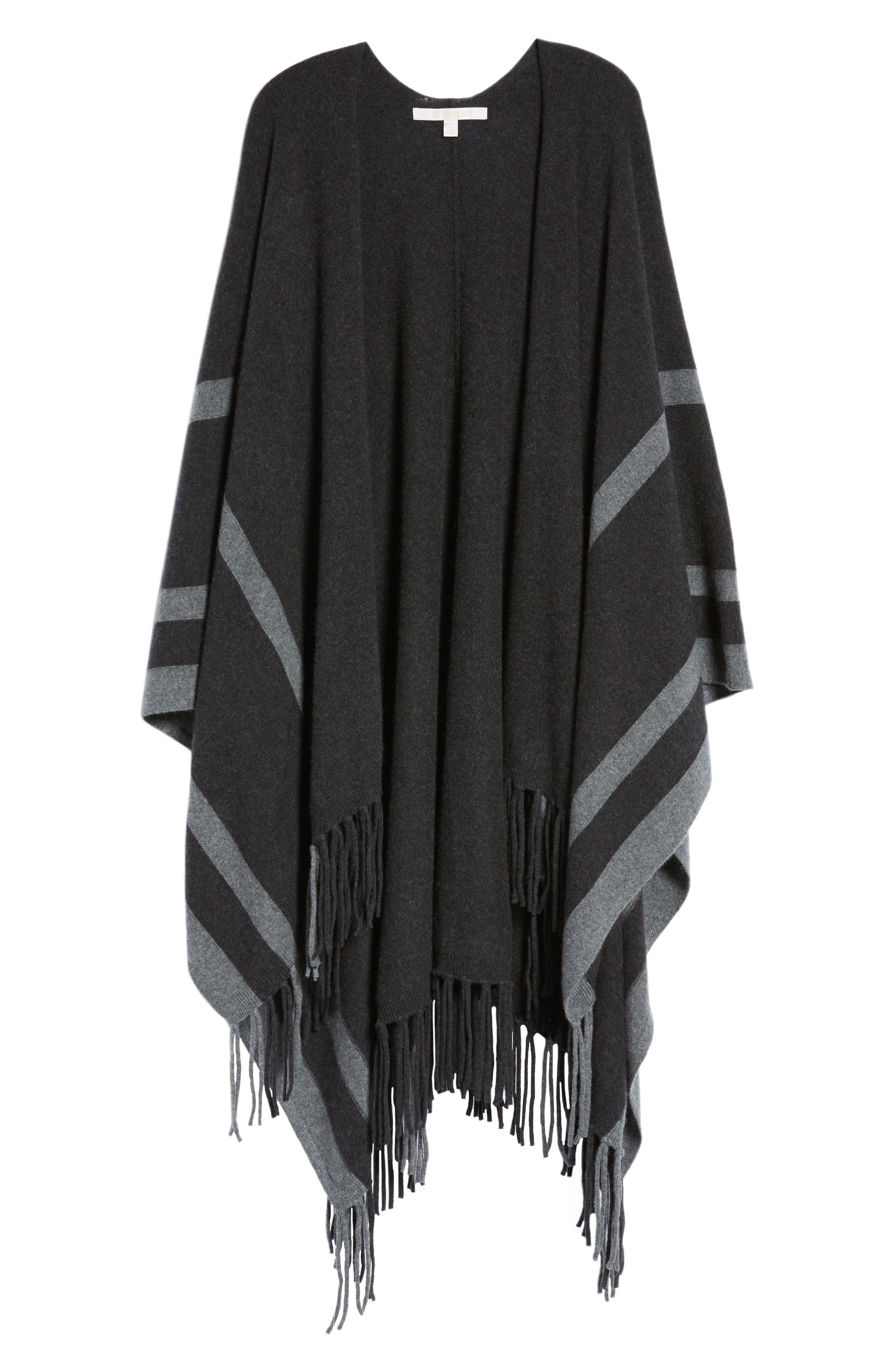 Luxe Stripe Cashmere Ruana,                             Alternate thumbnail 6, color,                             Black Rock Heather Combo
