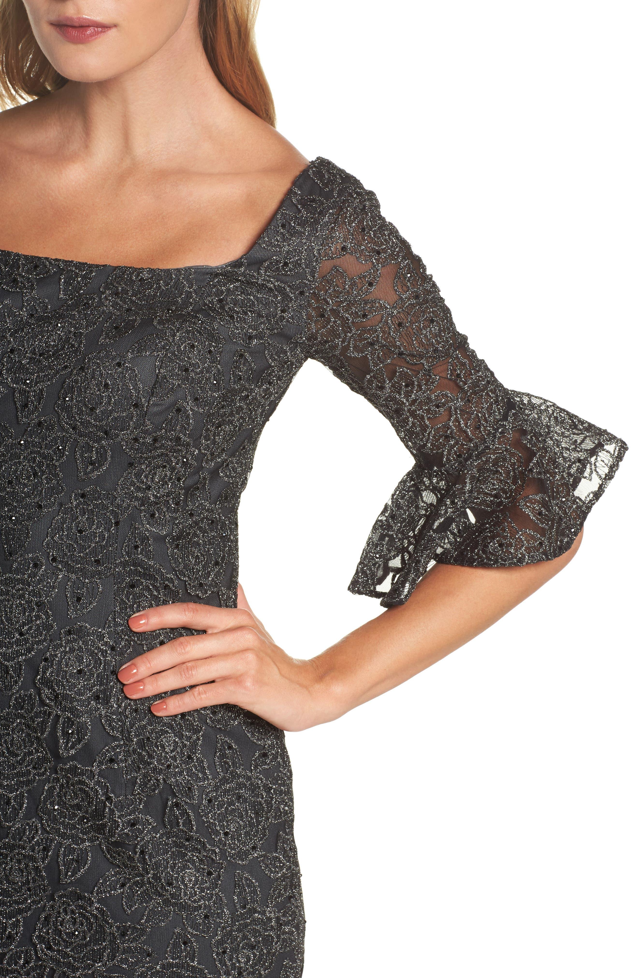 Alternate Image 4  - La Femme Mermaid Hem Embroidered Mesh Sheath Dress