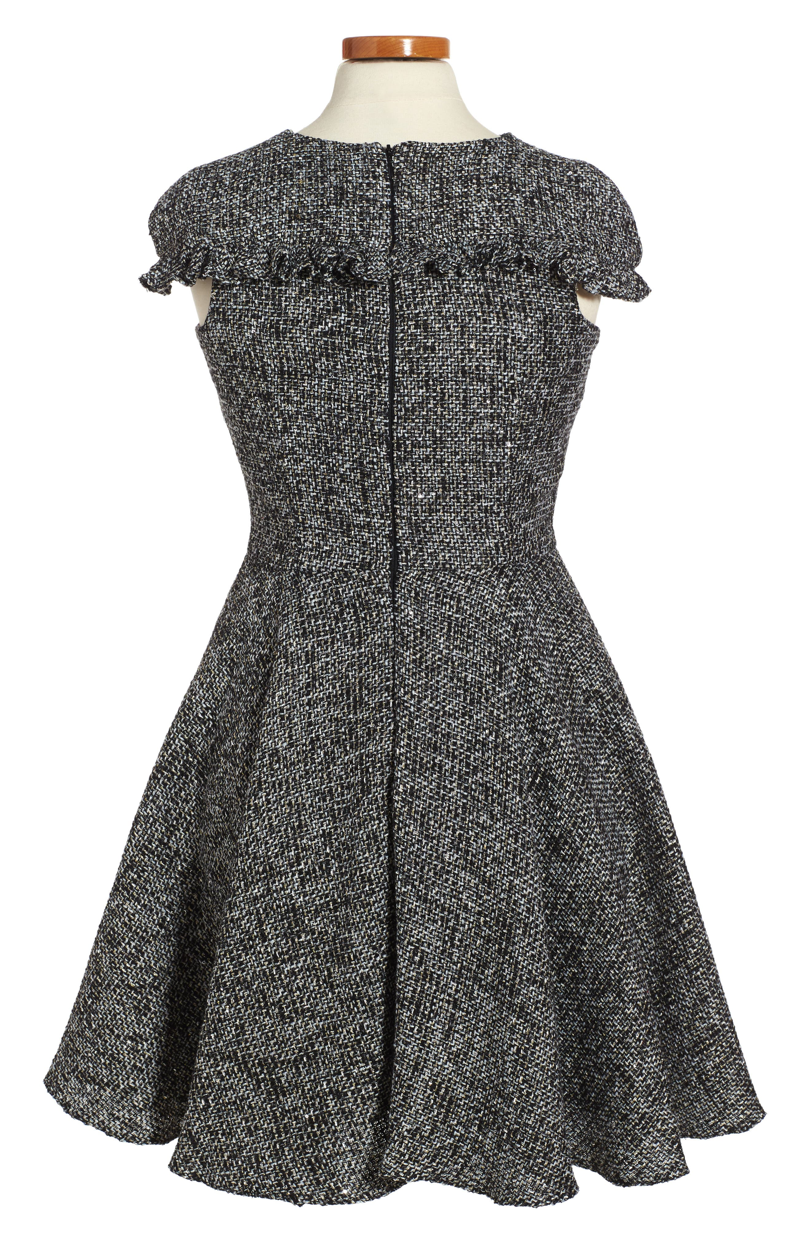Sequin Tweed Dress,                             Alternate thumbnail 3, color,                             Black