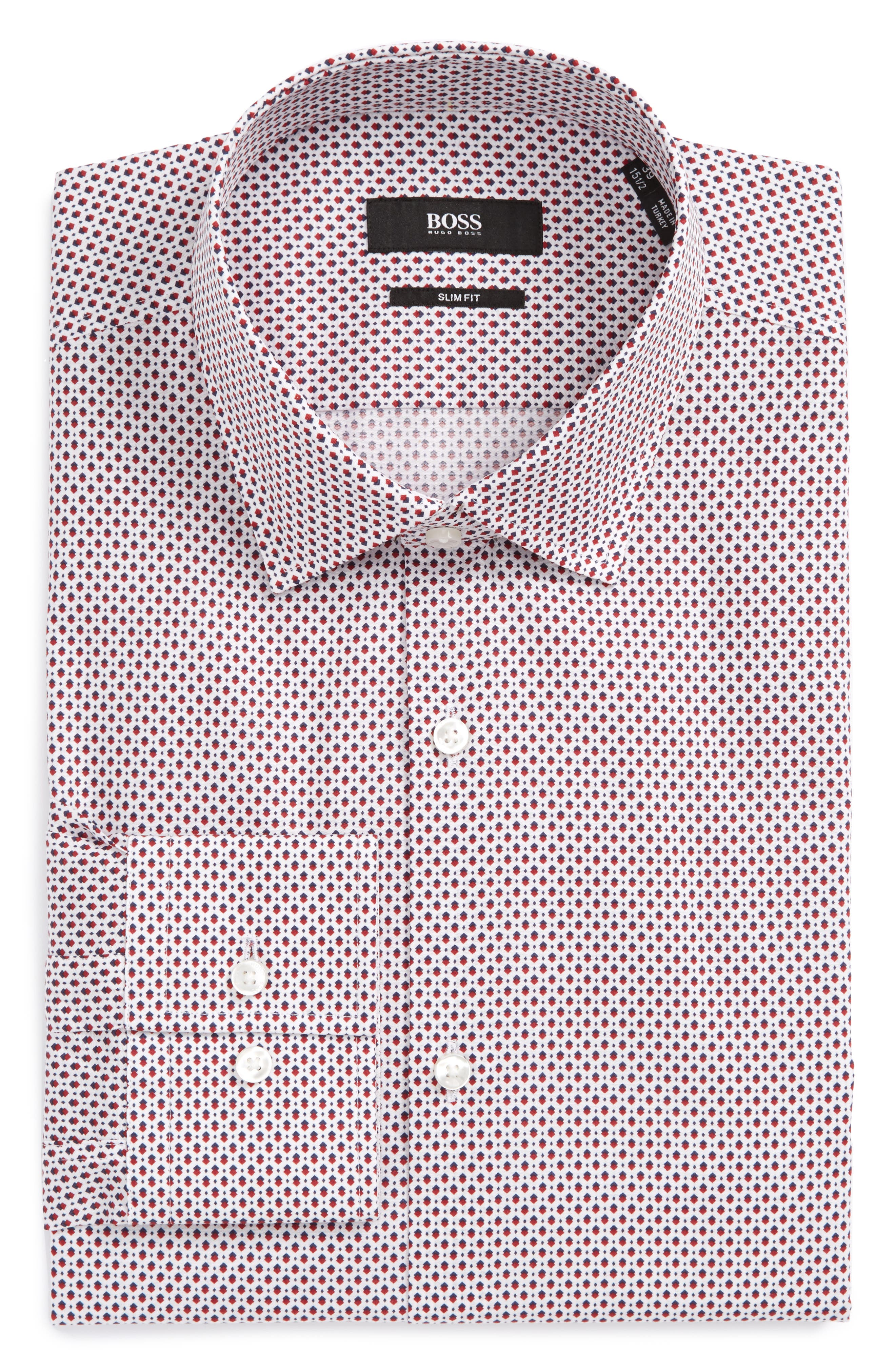 Main Image - BOSS Jenno Slim Fit Print Dress Shirt