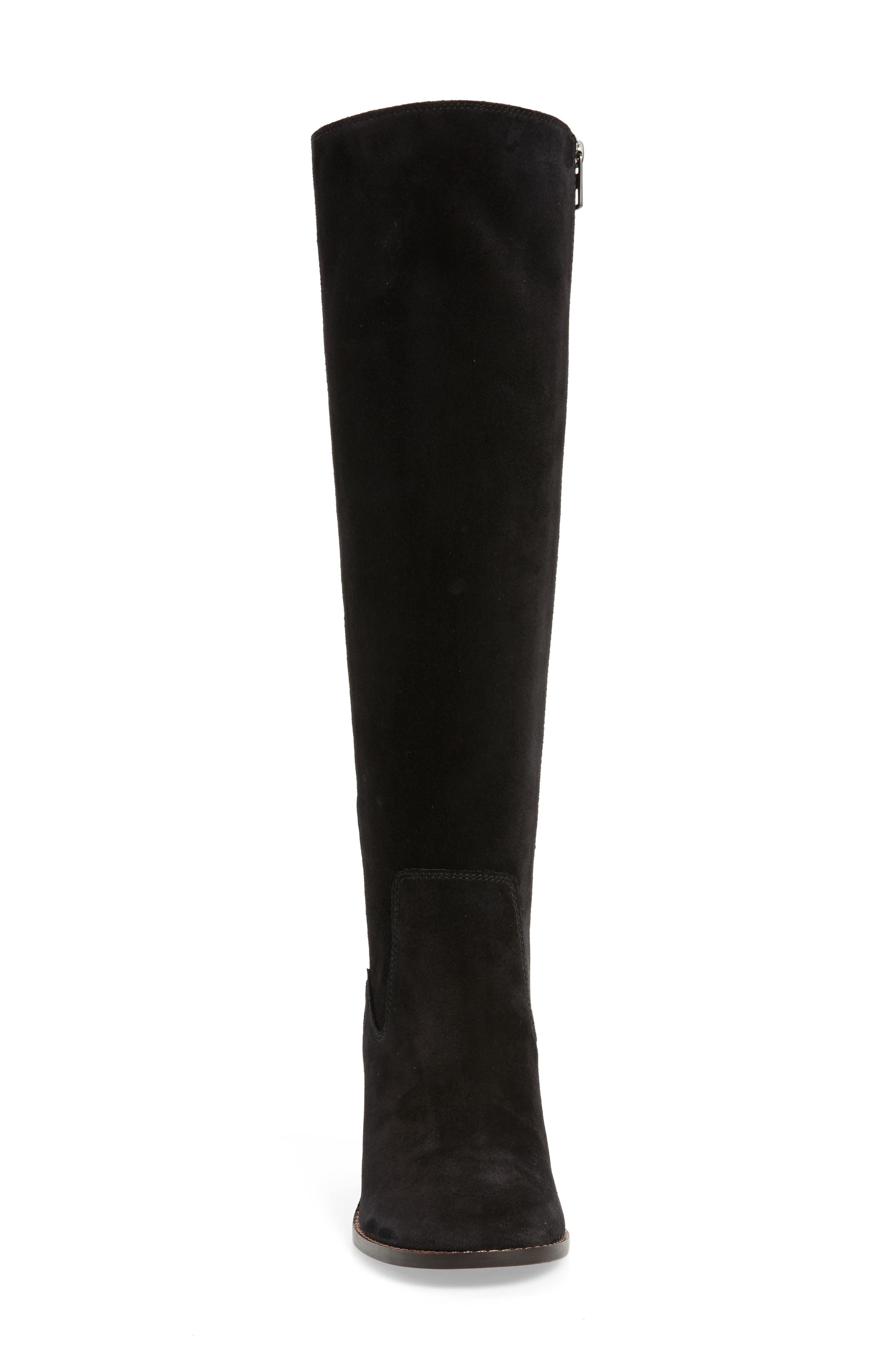 Tea Rose Heel Boot,                             Alternate thumbnail 4, color,                             Black Leather