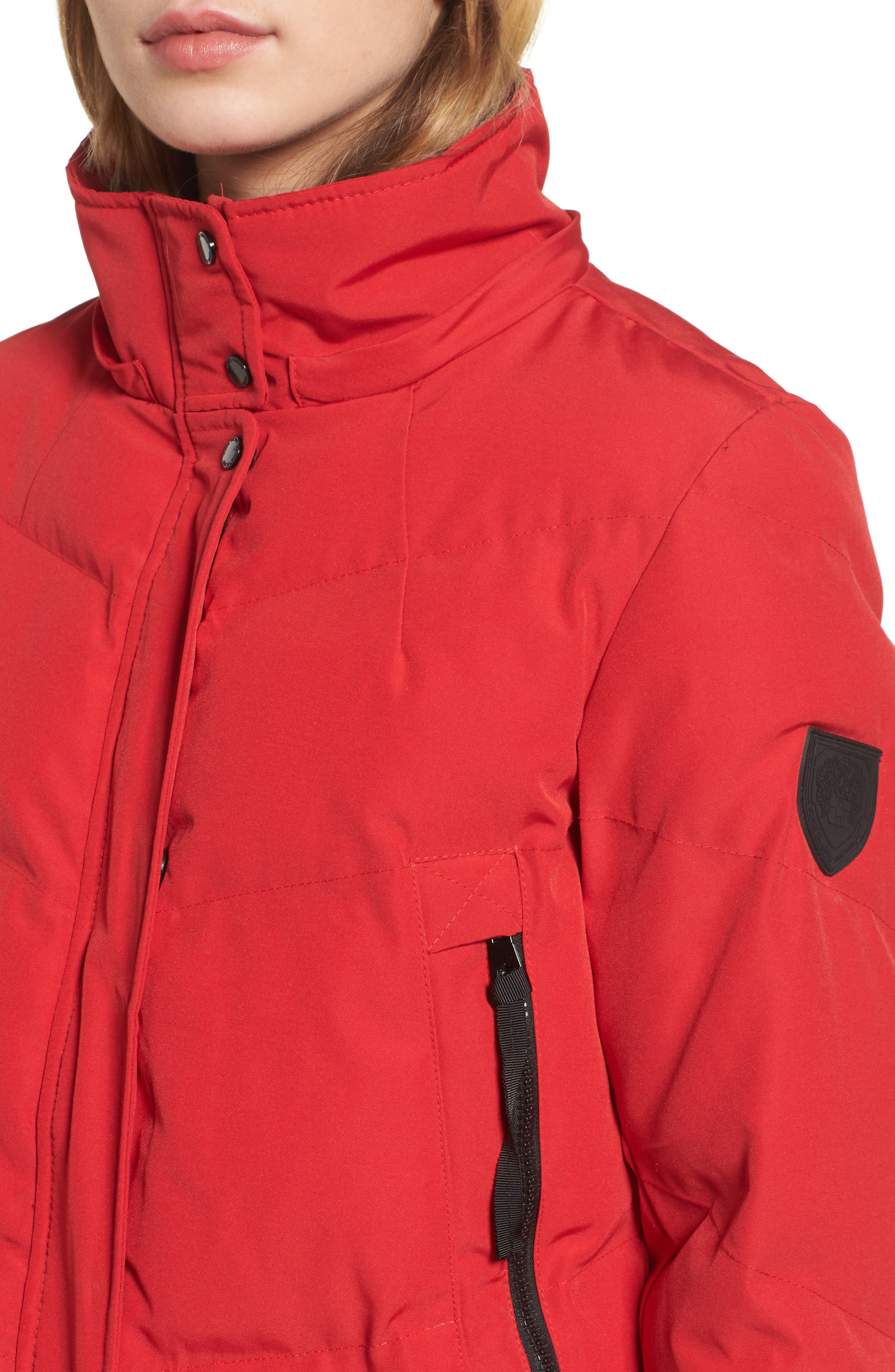 Quilted Puffer Jacket,                             Alternate thumbnail 4, color,                             Red