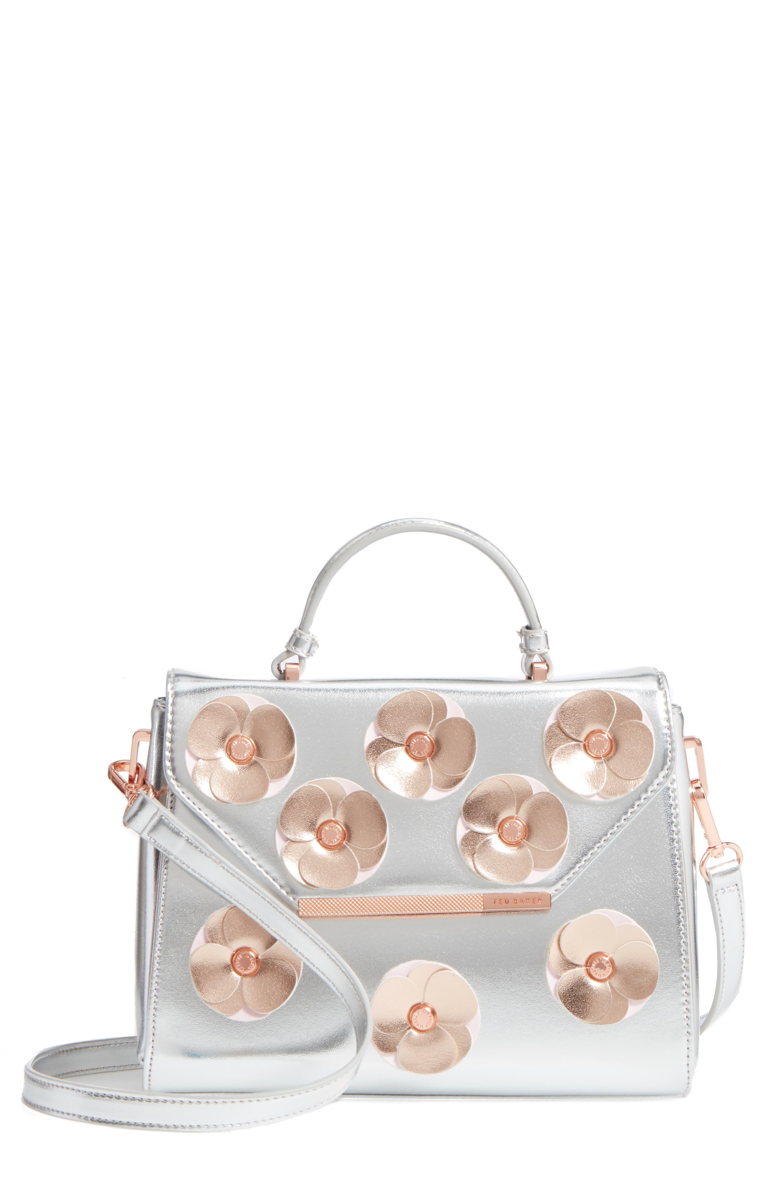 Daisii Appliqué Faux Leather Top Handle Satchel,                         Main,                         color, Silver
