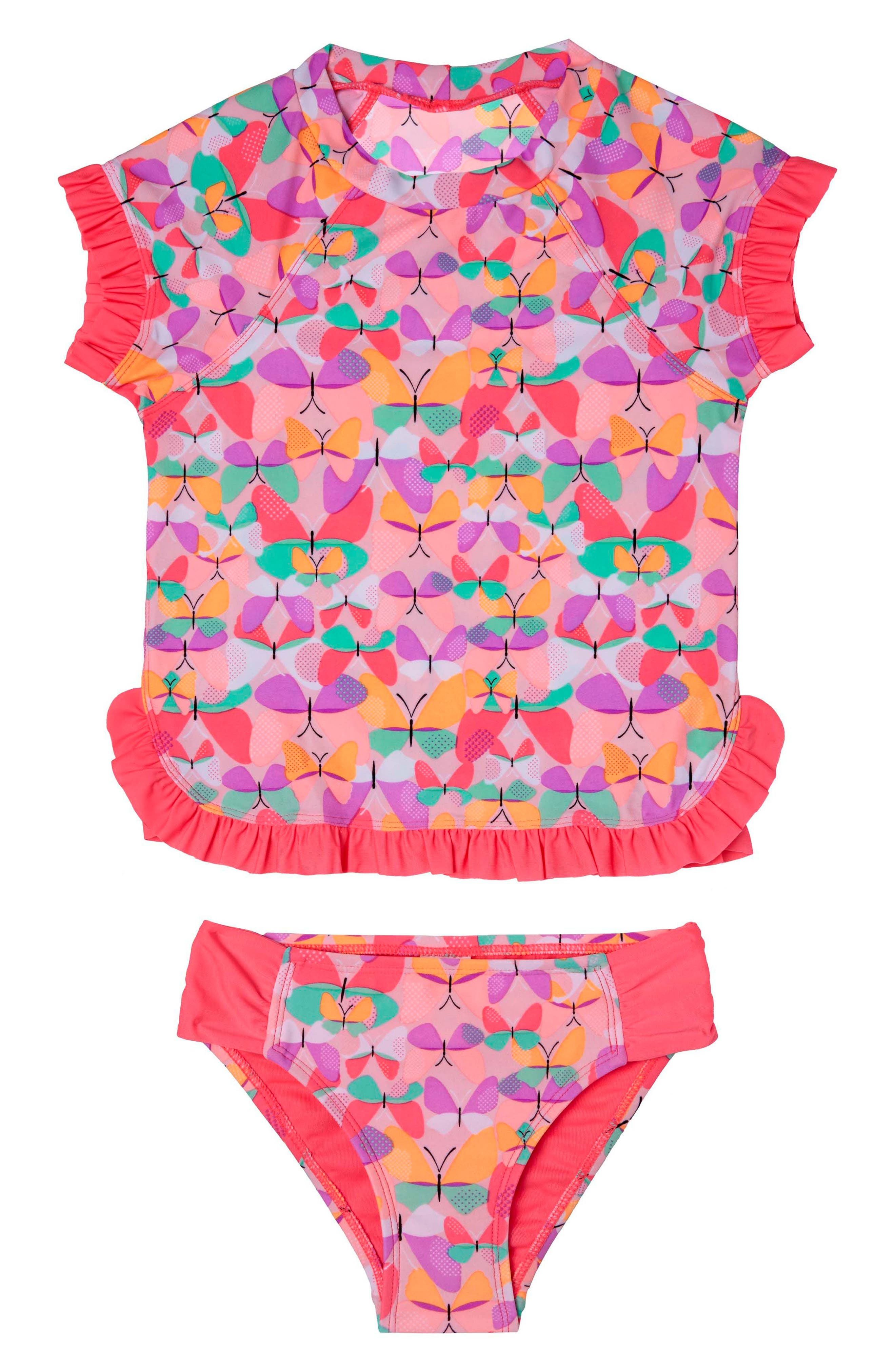 Alternate Image 1 Selected - Hula Star Butterfly Cutie Two-Piece Rashguard Swimsuit (Toddler Girls & Little Girls)
