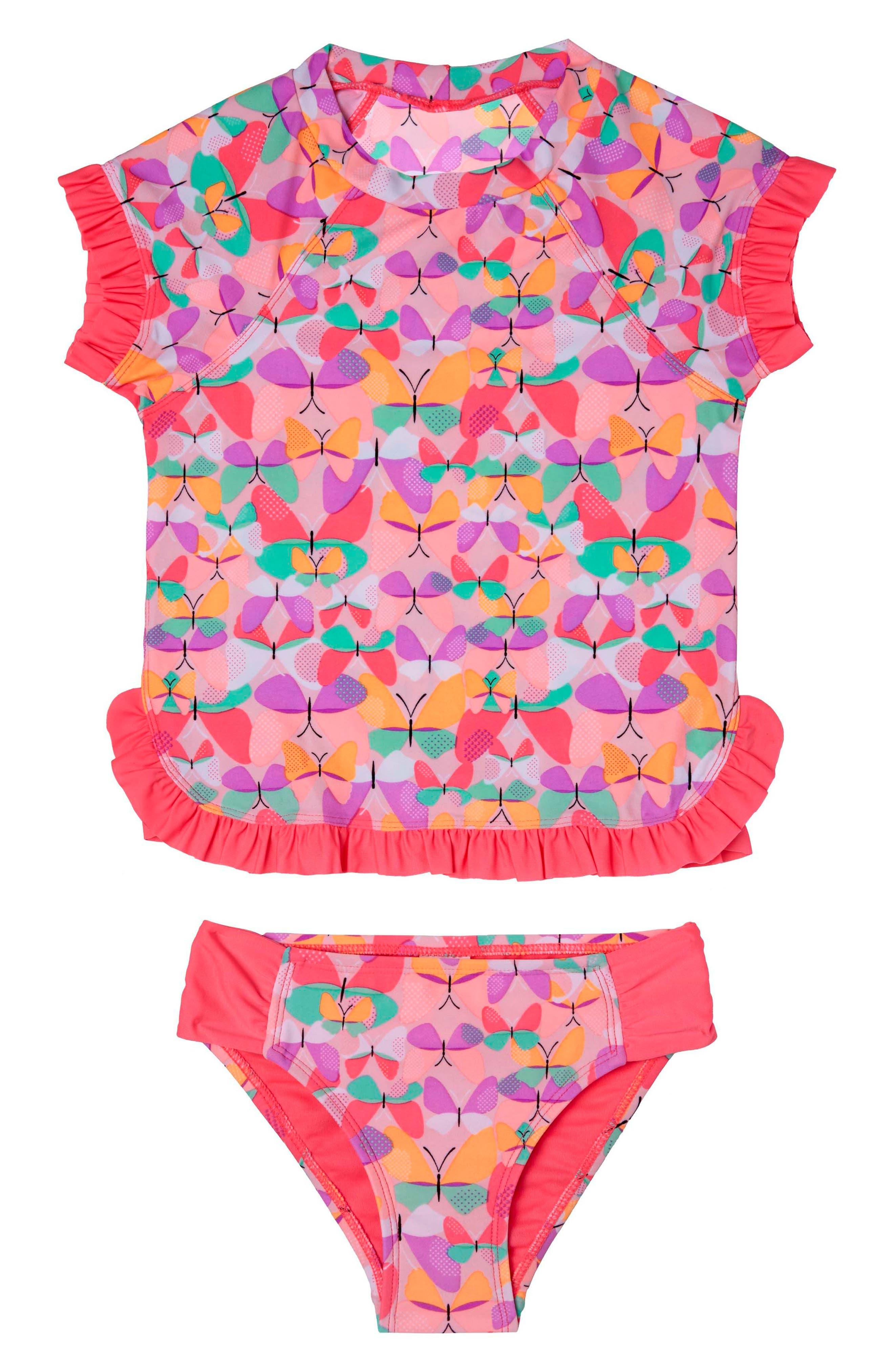 Hula Star Butterfly Cutie Two-Piece Rashguard Swimsuit (Toddler Girls & Little Girls)