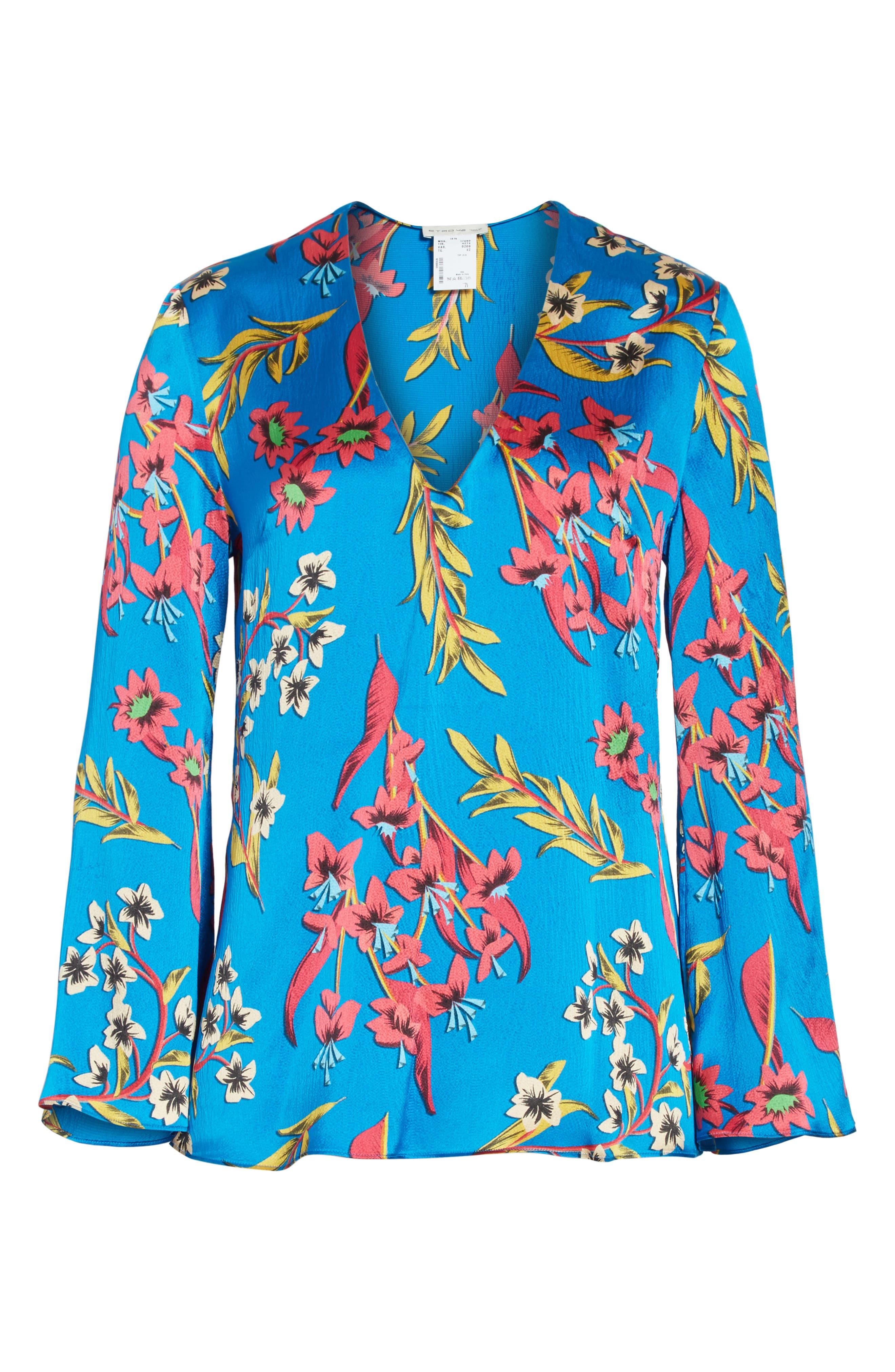 Alternate Image 6  - Etro Jungle Floral Print Silk Blouse