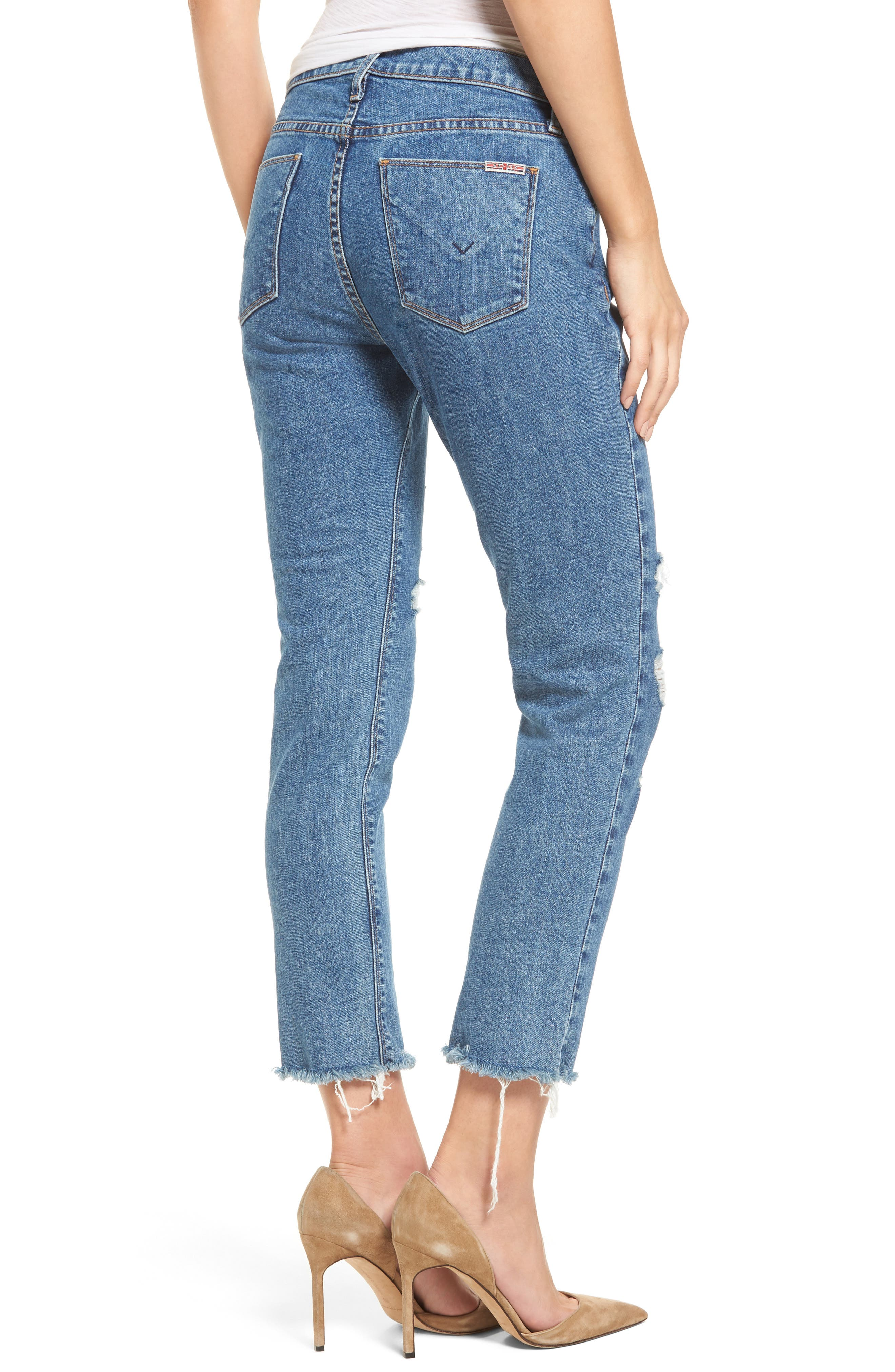 Alternate Image 2  - Hudson Jeans Riley Crop Relaxed Straight Leg Jeans (Continuum Destructed)