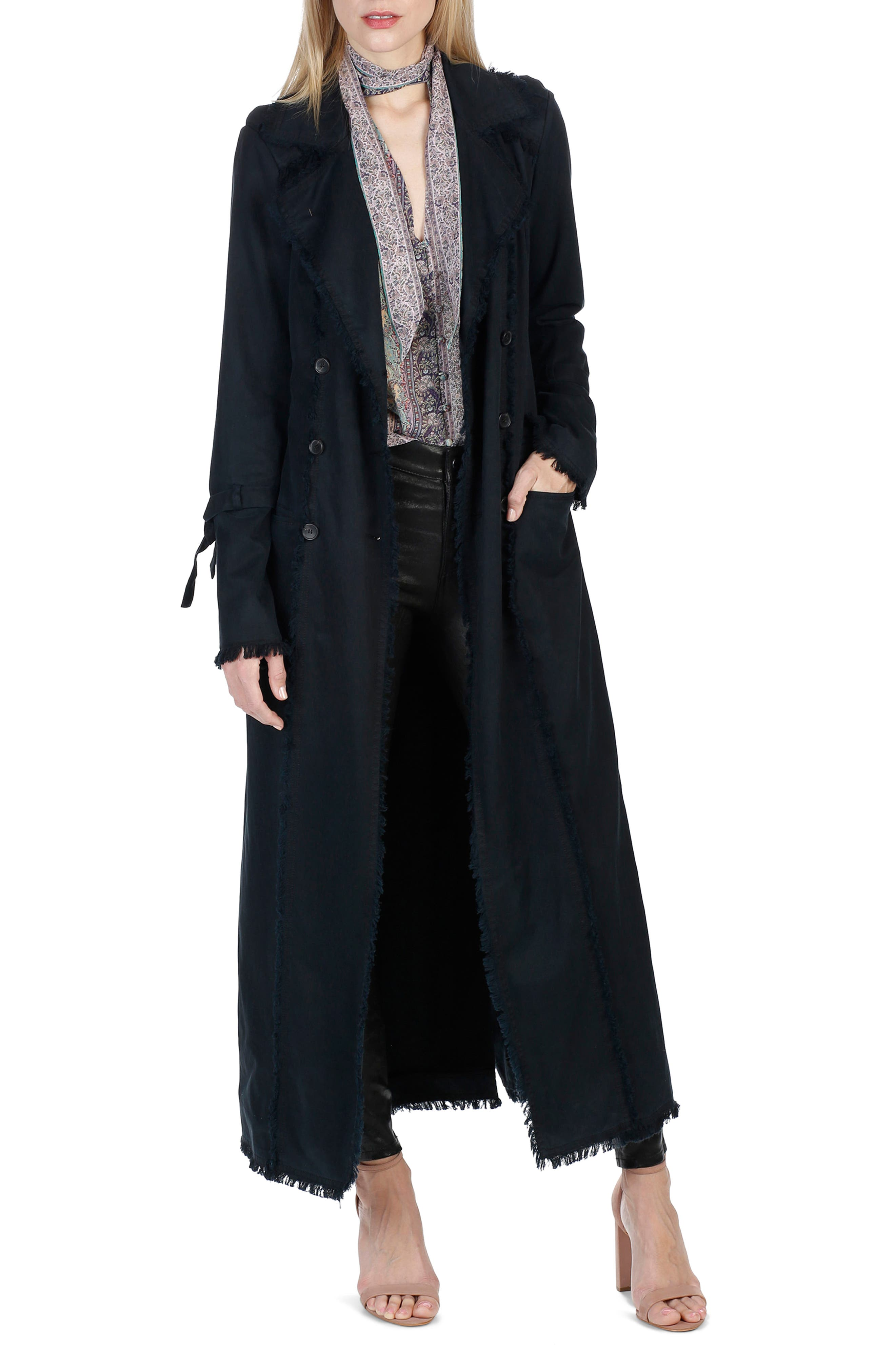 Norma Bell Sleeve Trench Coat,                             Main thumbnail 1, color,                             Midnight