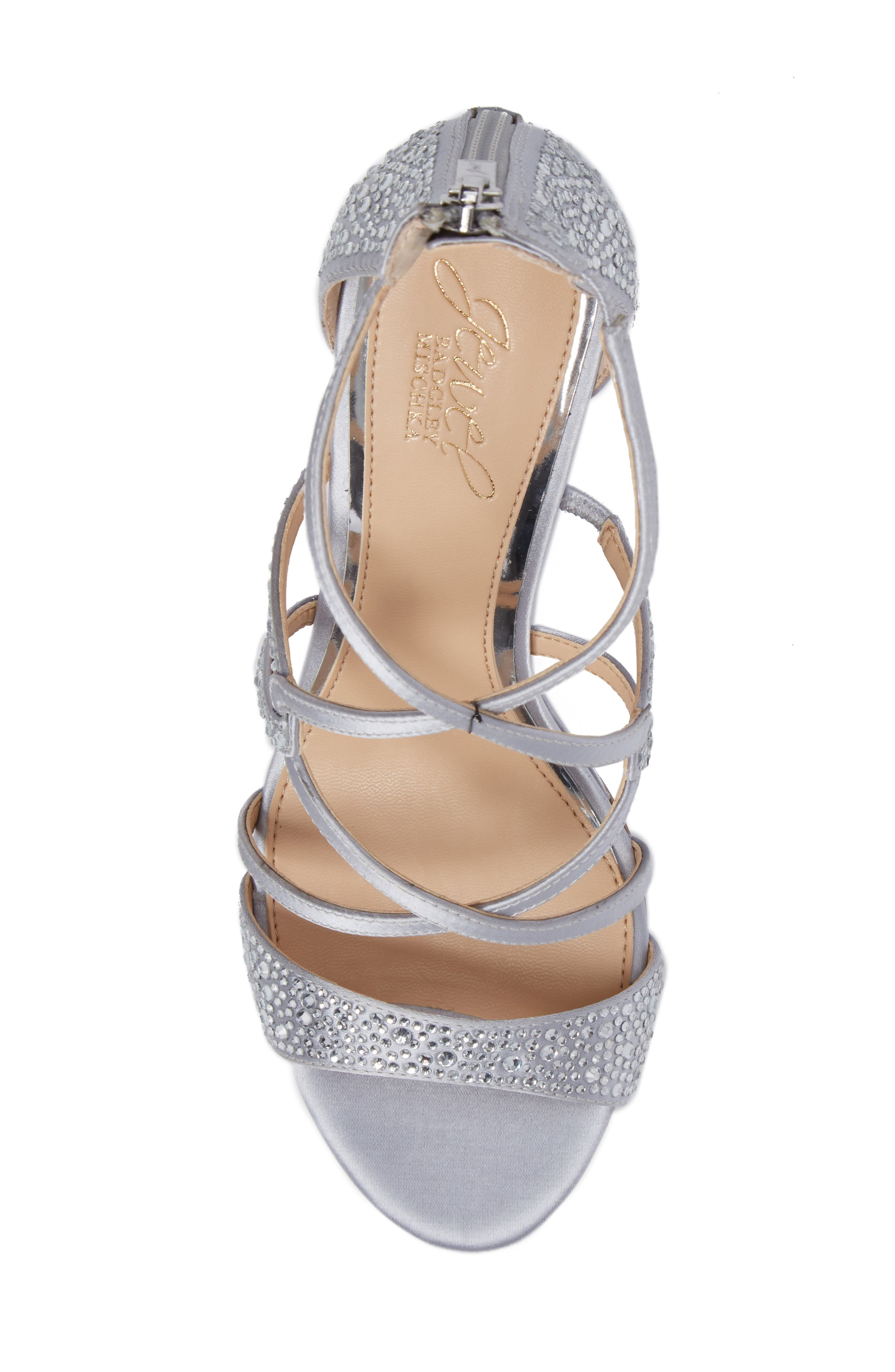 Ally II Embellished Wedge Sandal,                             Alternate thumbnail 5, color,                             Silver Satin