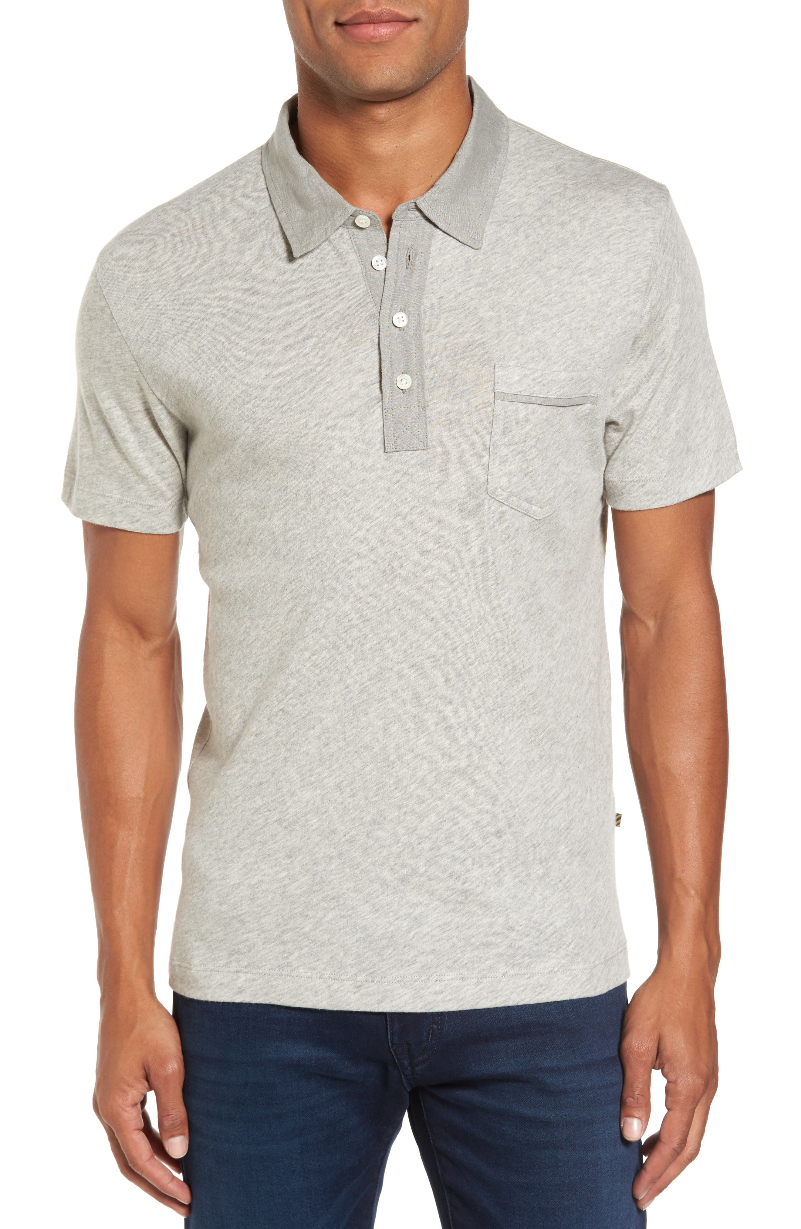 Standard Fit Jersey Polo,                         Main,                         color, Light Heather Grey