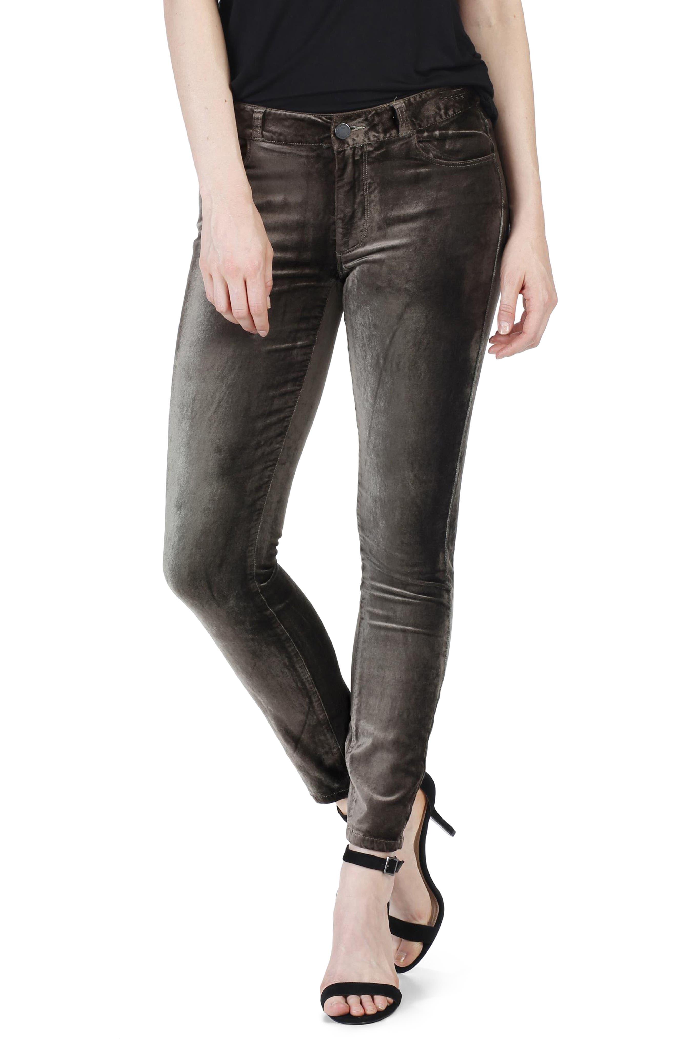 Verdugo Velvet Ankle Skinny Pants,                             Alternate thumbnail 3, color,                             Deep Juniper