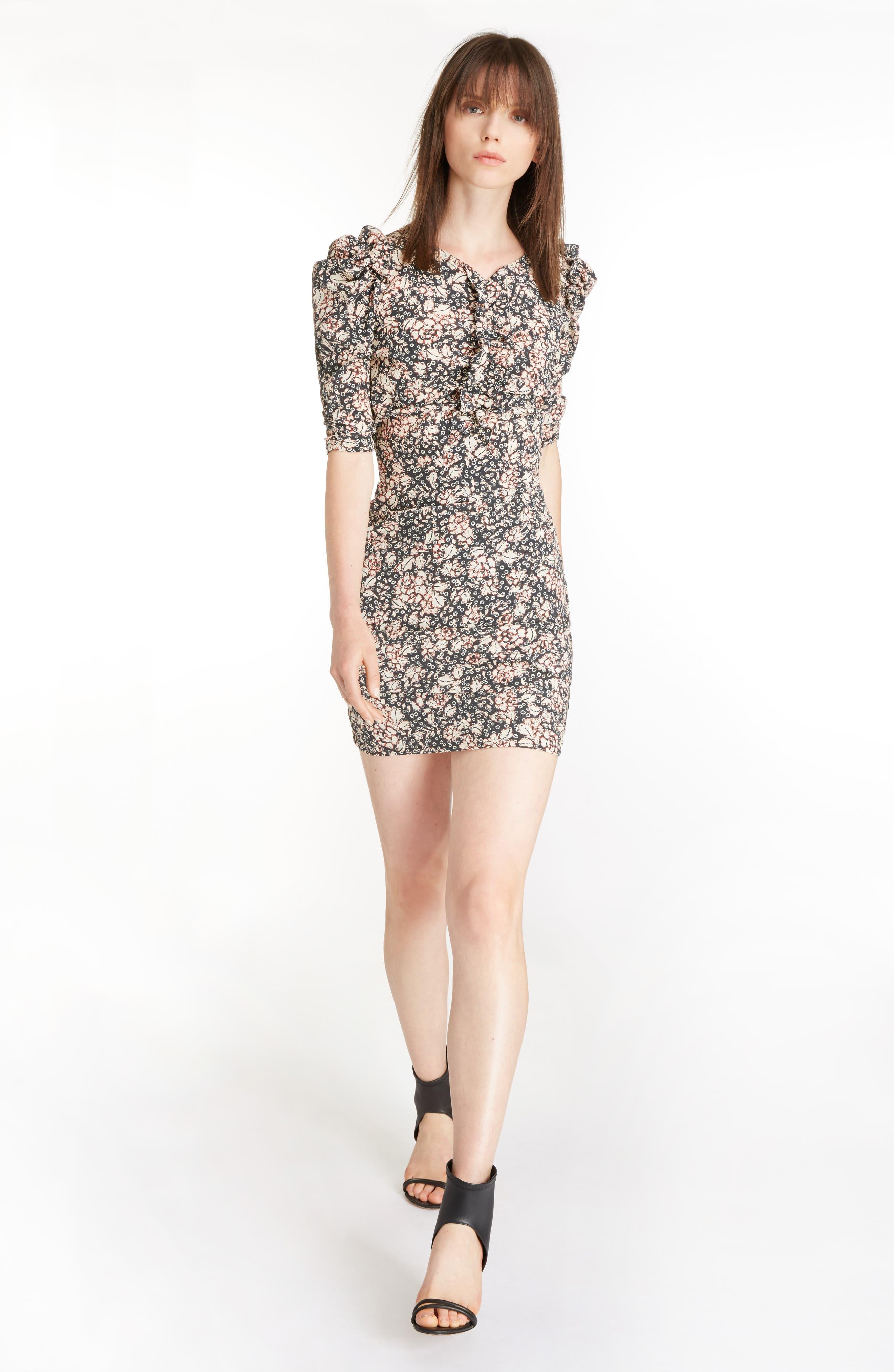 Alternate Image 6  - Isabel Marant Brizia Floral Print Stretch Silk Puff Sleeve Dress