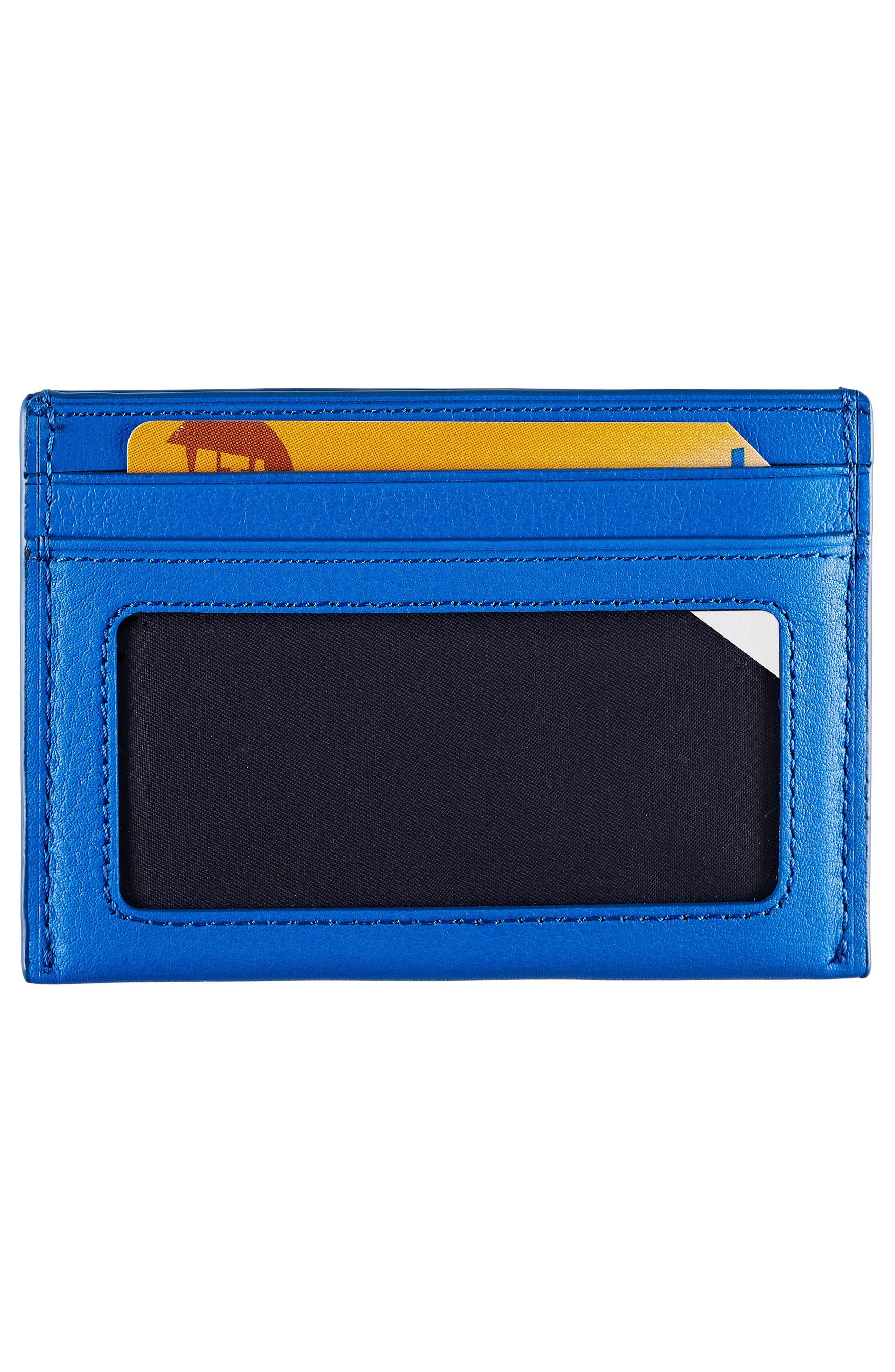 Leather Card Case,                             Alternate thumbnail 2, color,                             Electric Blue Textured
