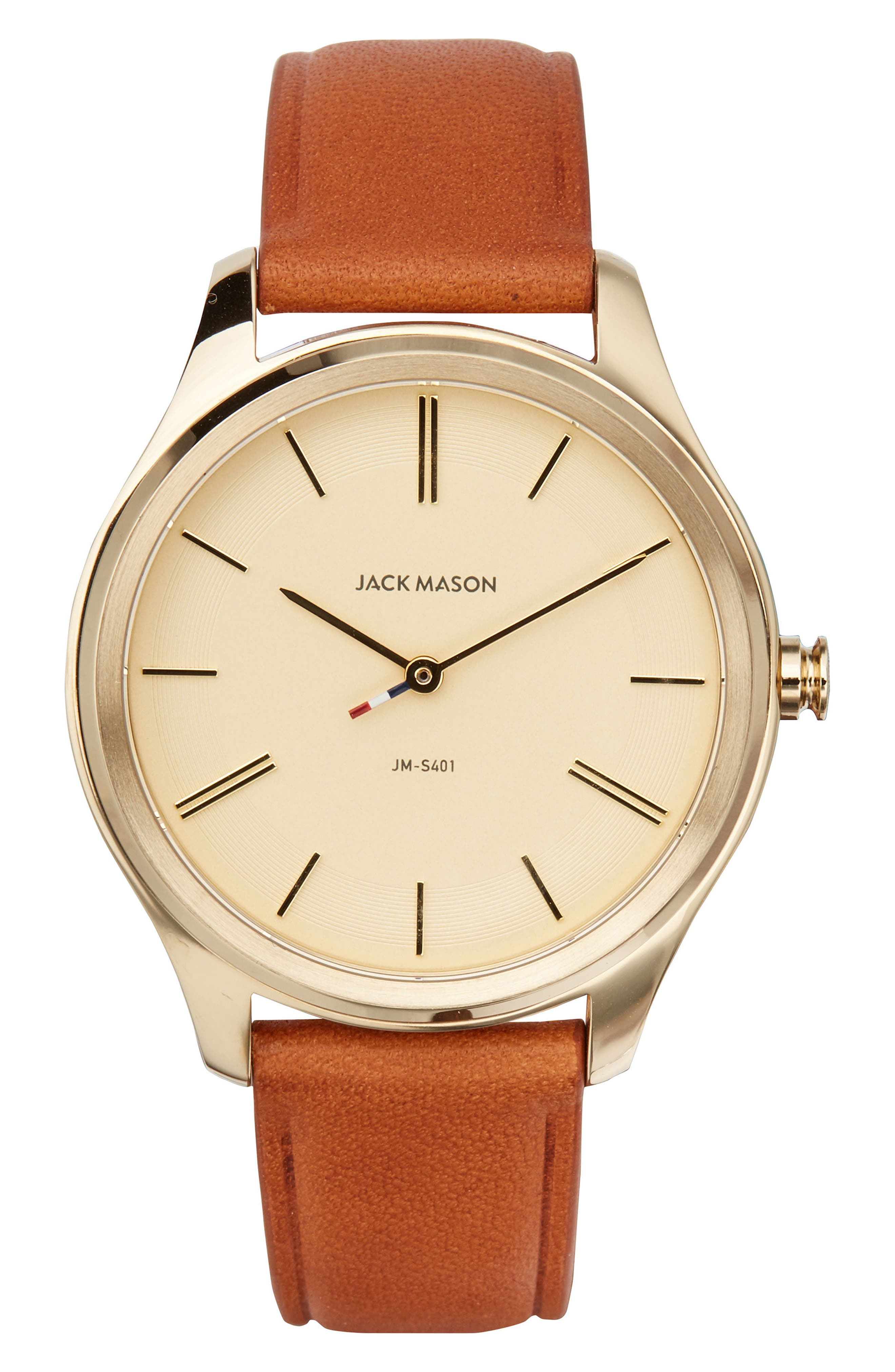 Jack Mason Slim Leather Strap Watch, 38mm